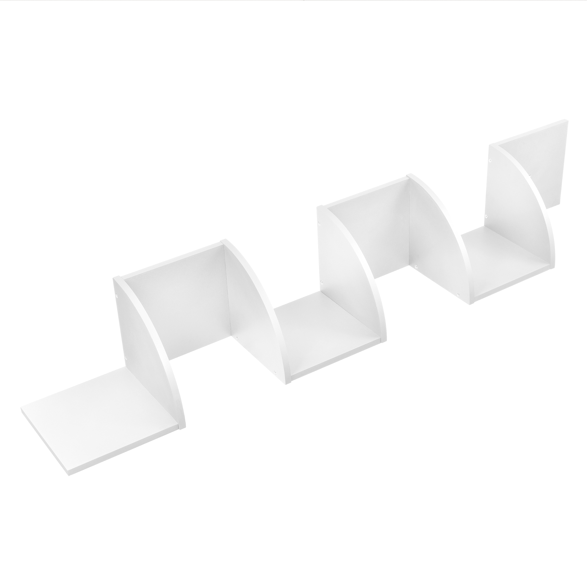 [en.casa]® Designová police na zeď - bílá - model 22