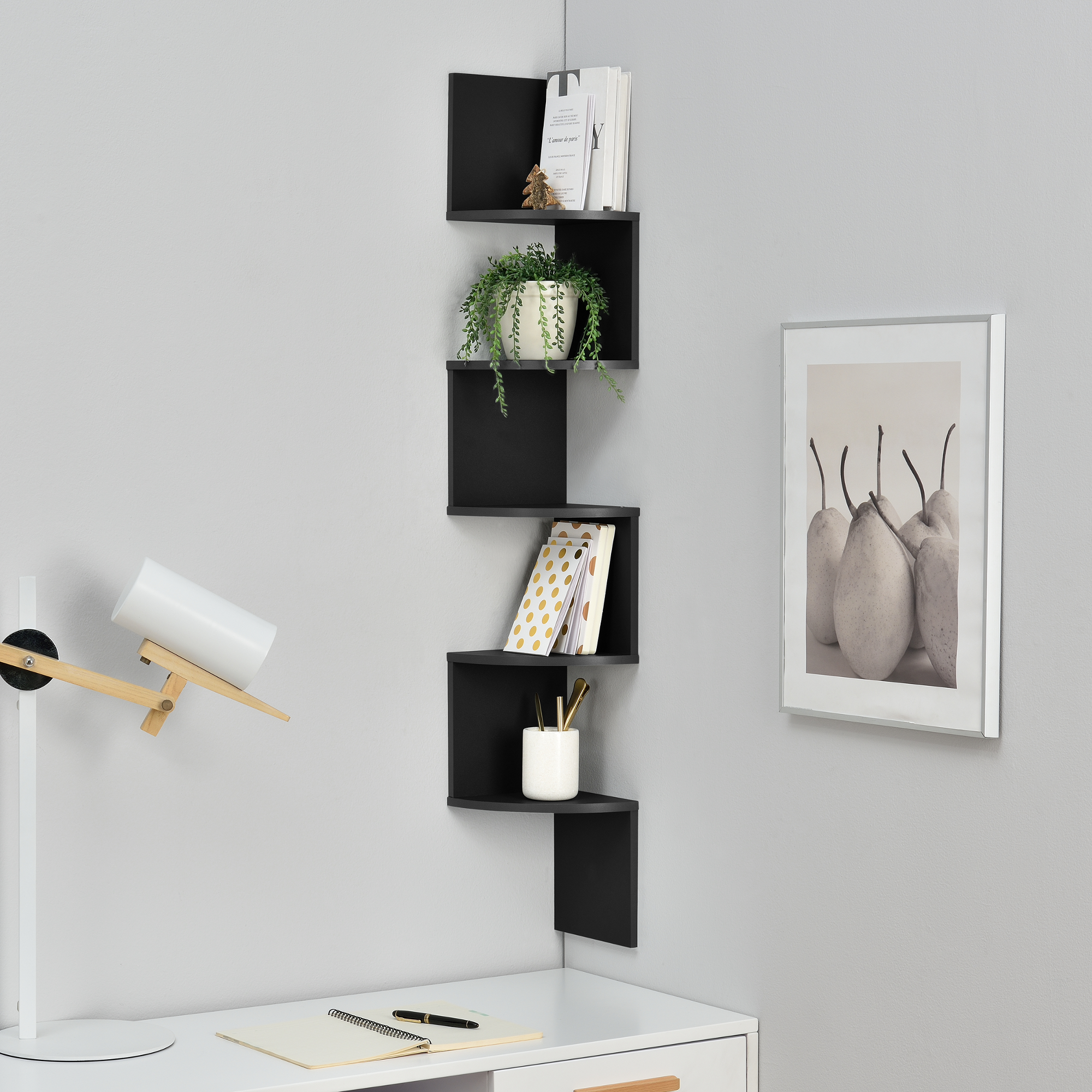 tag re murale suspendre tag re coin tag re des livres zigzag noir ebay. Black Bedroom Furniture Sets. Home Design Ideas