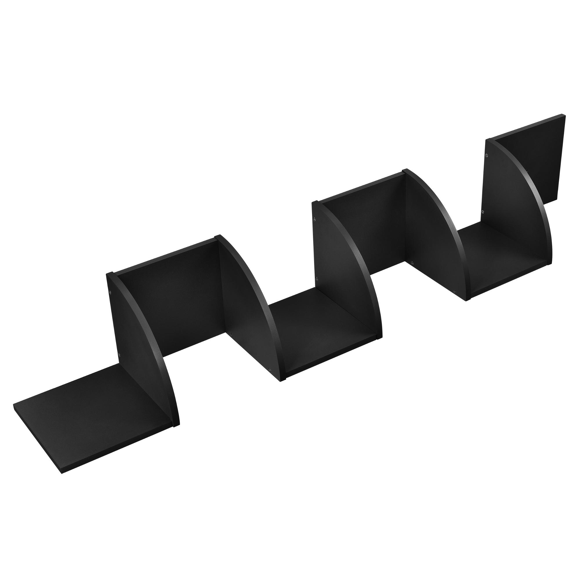 [en.casa]® Designová police na zeď - černá - model 22