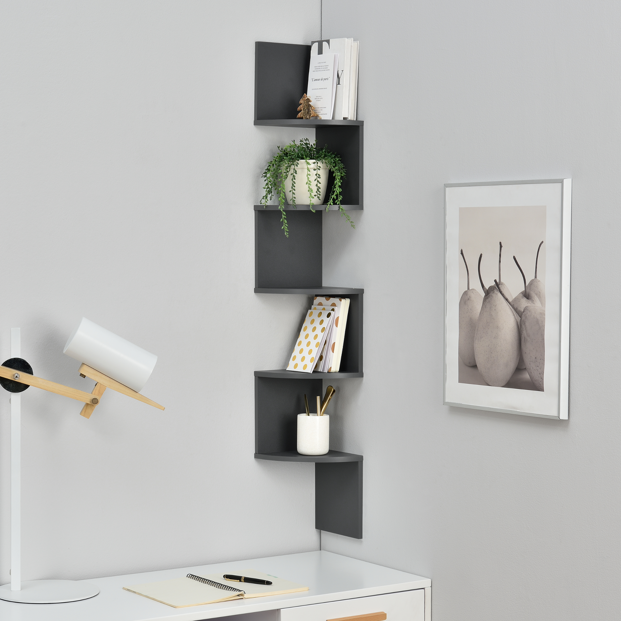 tag re murale suspendre tag re coin tag re des livres zigzag gris ebay. Black Bedroom Furniture Sets. Home Design Ideas