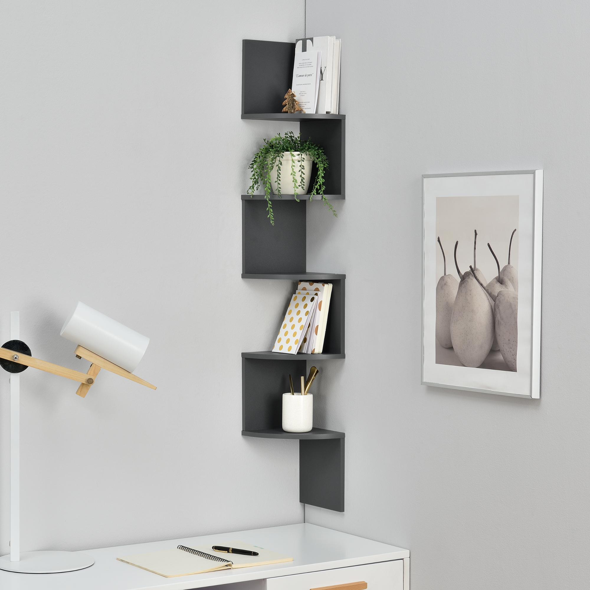 Wall shelf hanging corner bookcase zig zag for Free hanging bookshelves