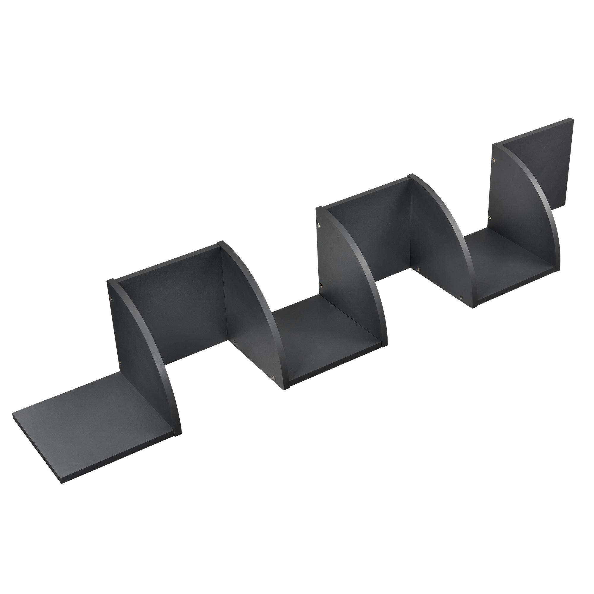 [en.casa]® Designová police na zeď - tmavě šedá - model 22