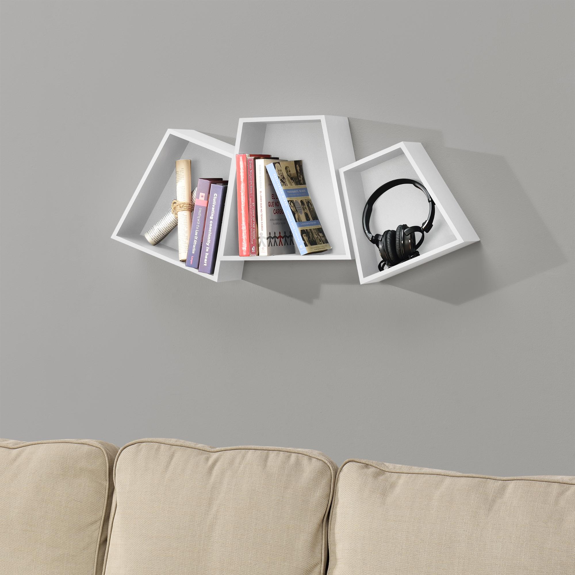 Libreria A Muro Moderna Ikea dettagli su [en.casa]® scaffale a muro set di 3 regale sospensione libreria  regale cd bianco