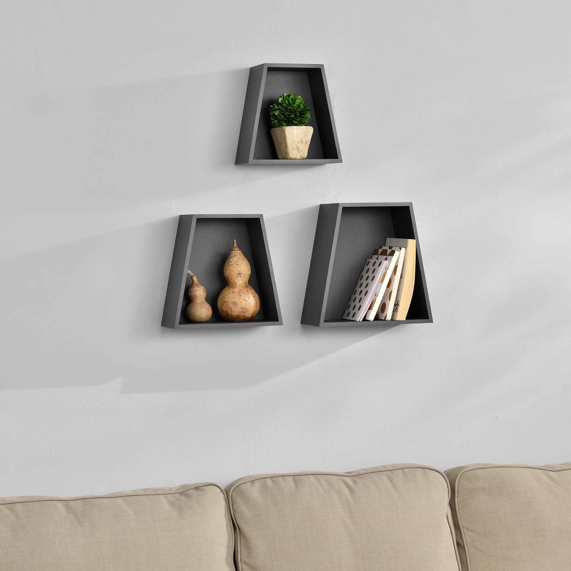 tag re murale en kit de 3 tag re suspendre tag re de livre cd gris ebay. Black Bedroom Furniture Sets. Home Design Ideas