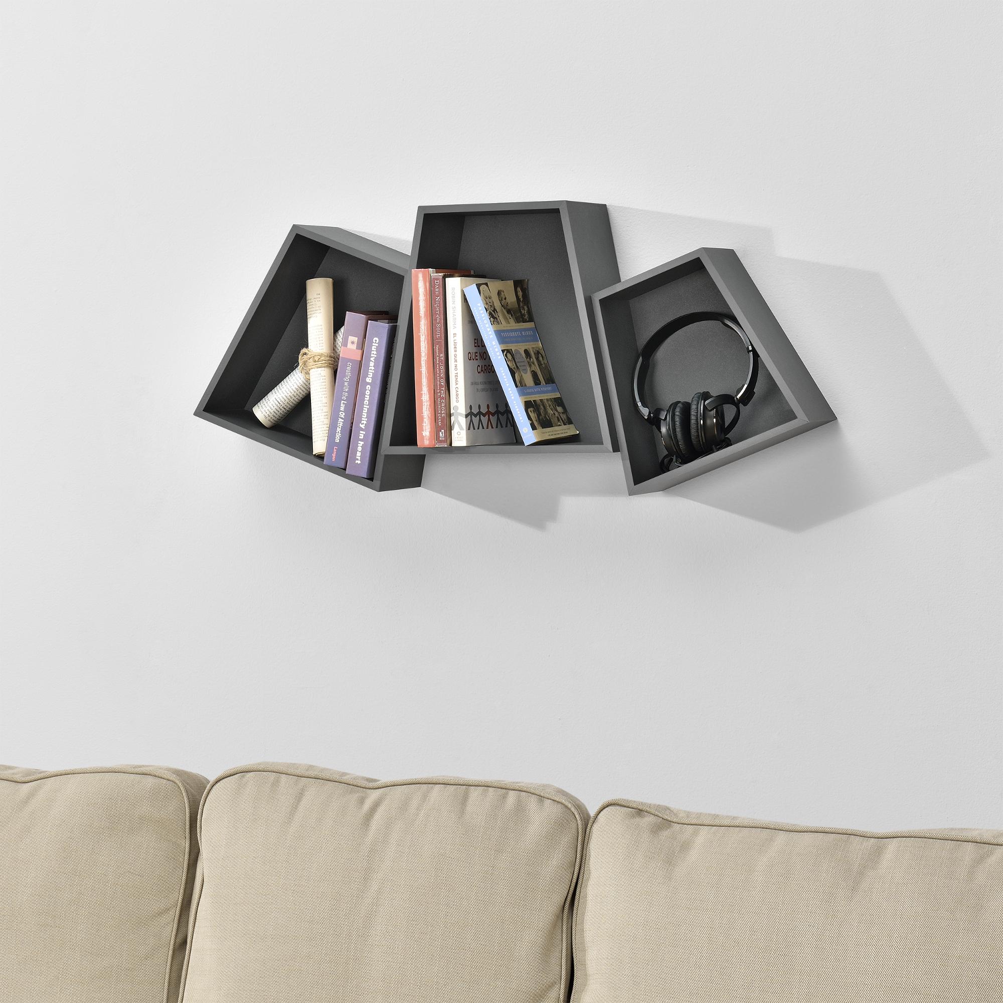 [en.casa]® Třídílná sada designových polic na zeď - tmavě šedá - model 23