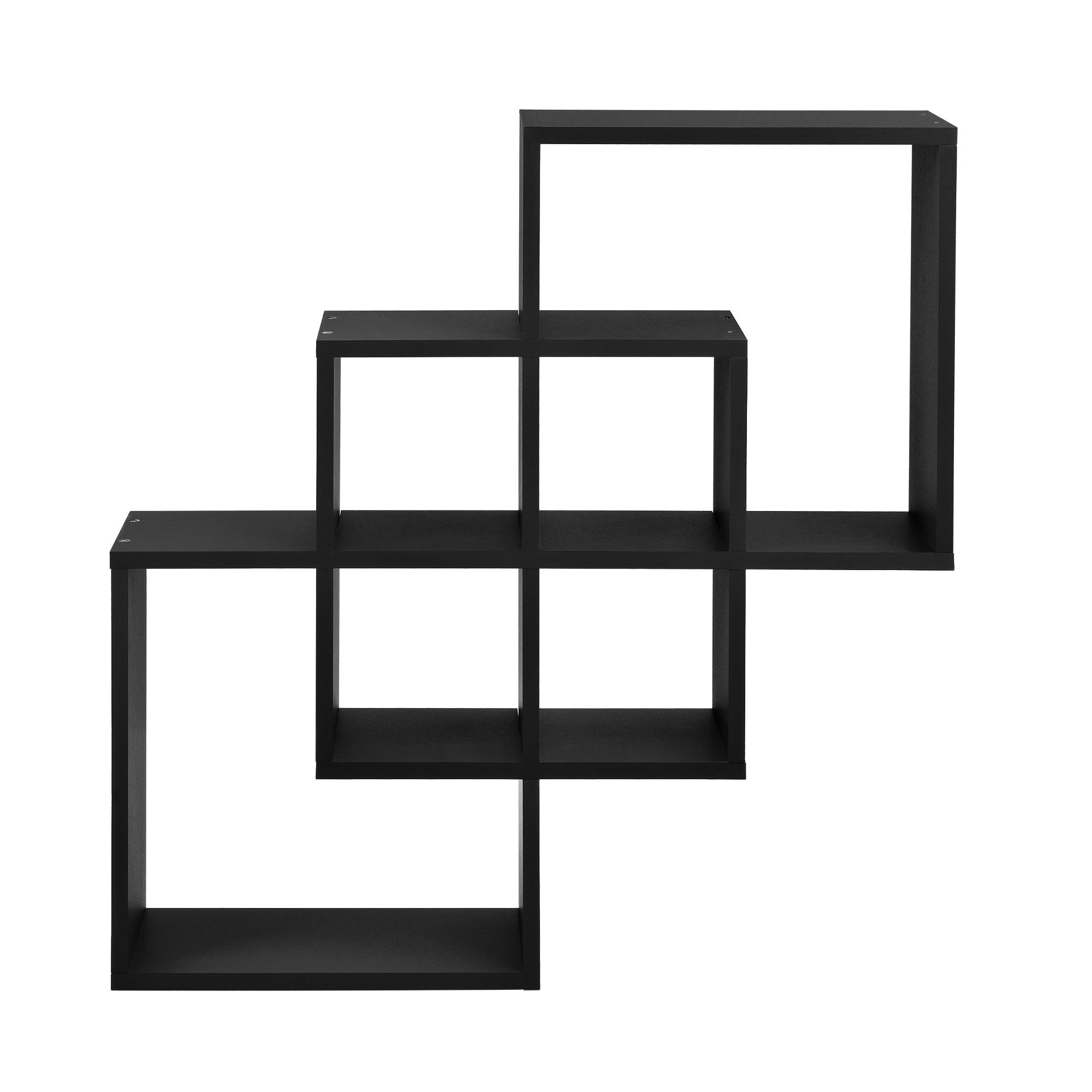 [en.casa]® Designová police na zeď - černá - model 24