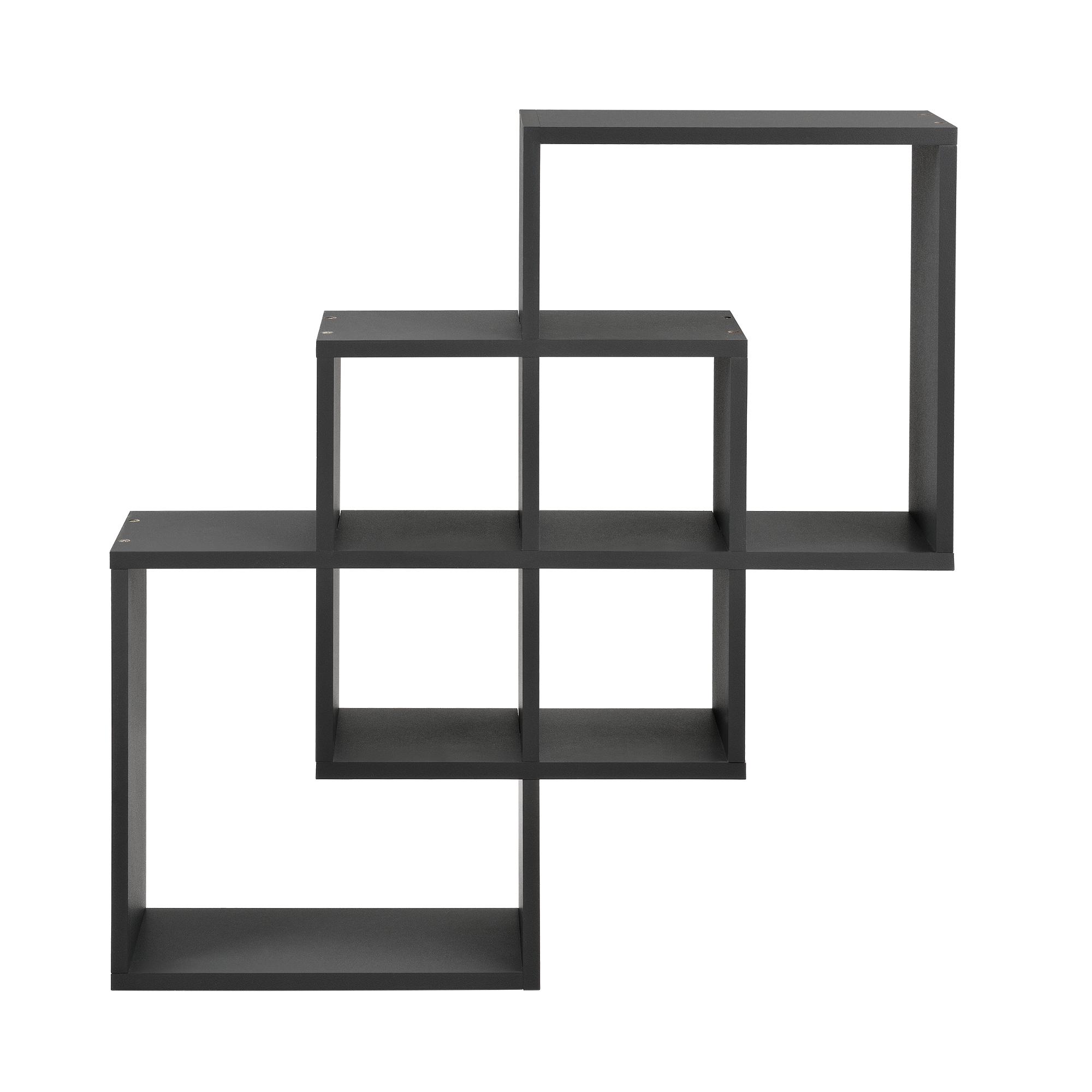 [en.casa]® Designová police na zeď - tmavě šedá - model 24