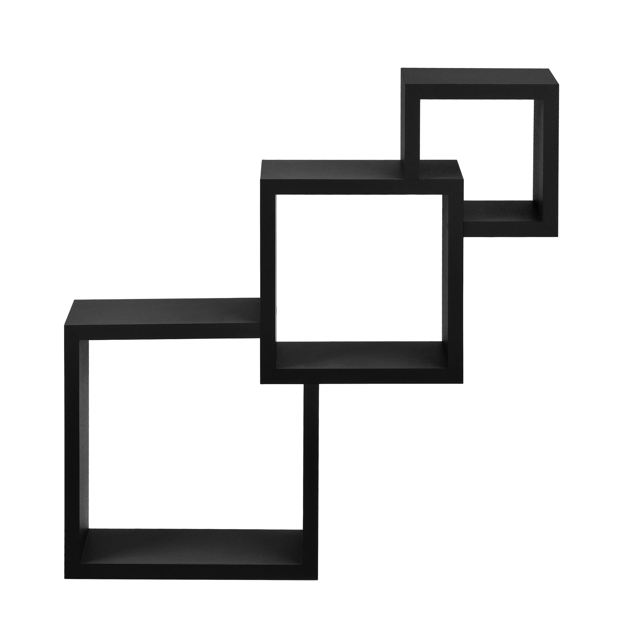 [en.casa]® Designová police na zeď - černá - model 25