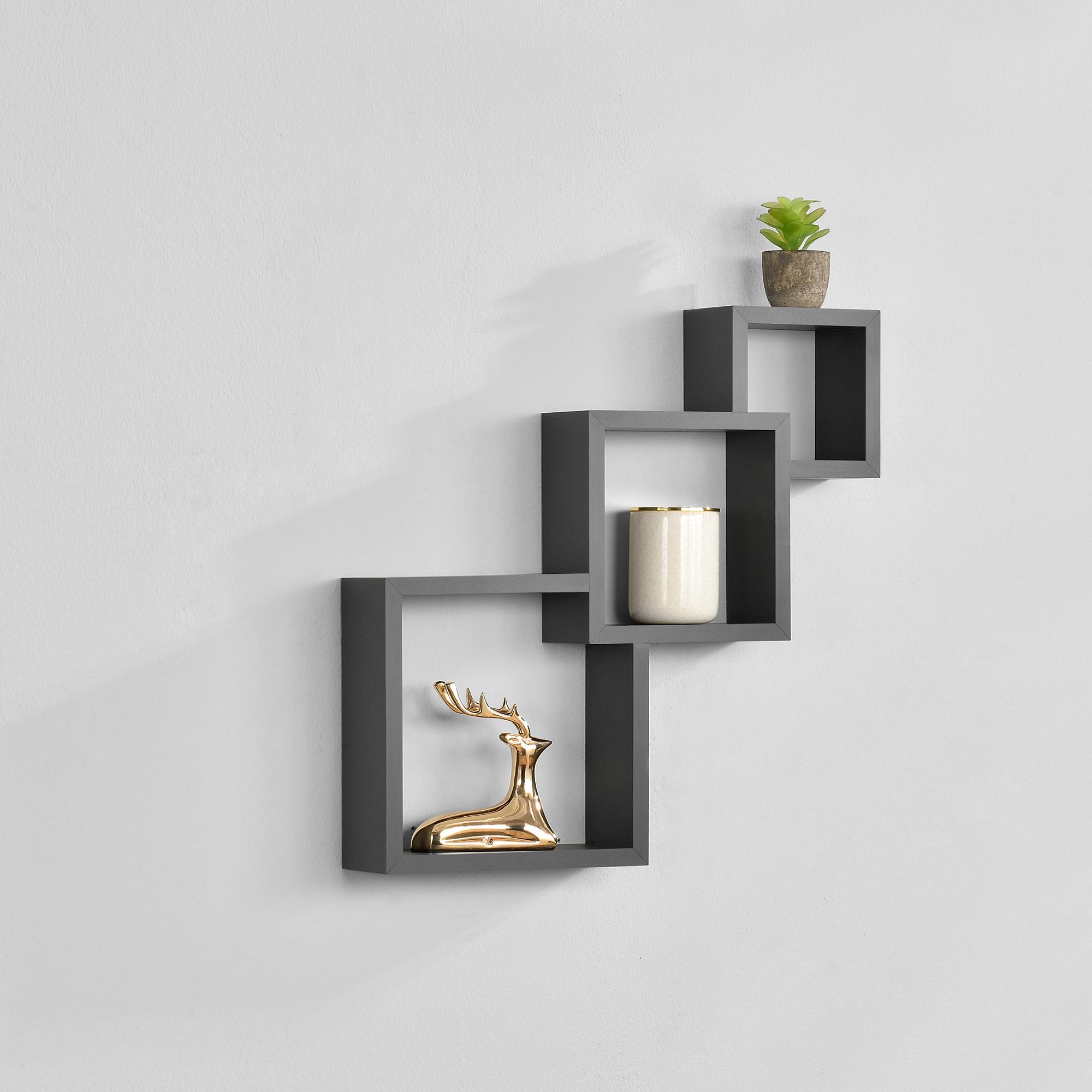 [en.casa]® Designová police na zeď - tmavě šedá