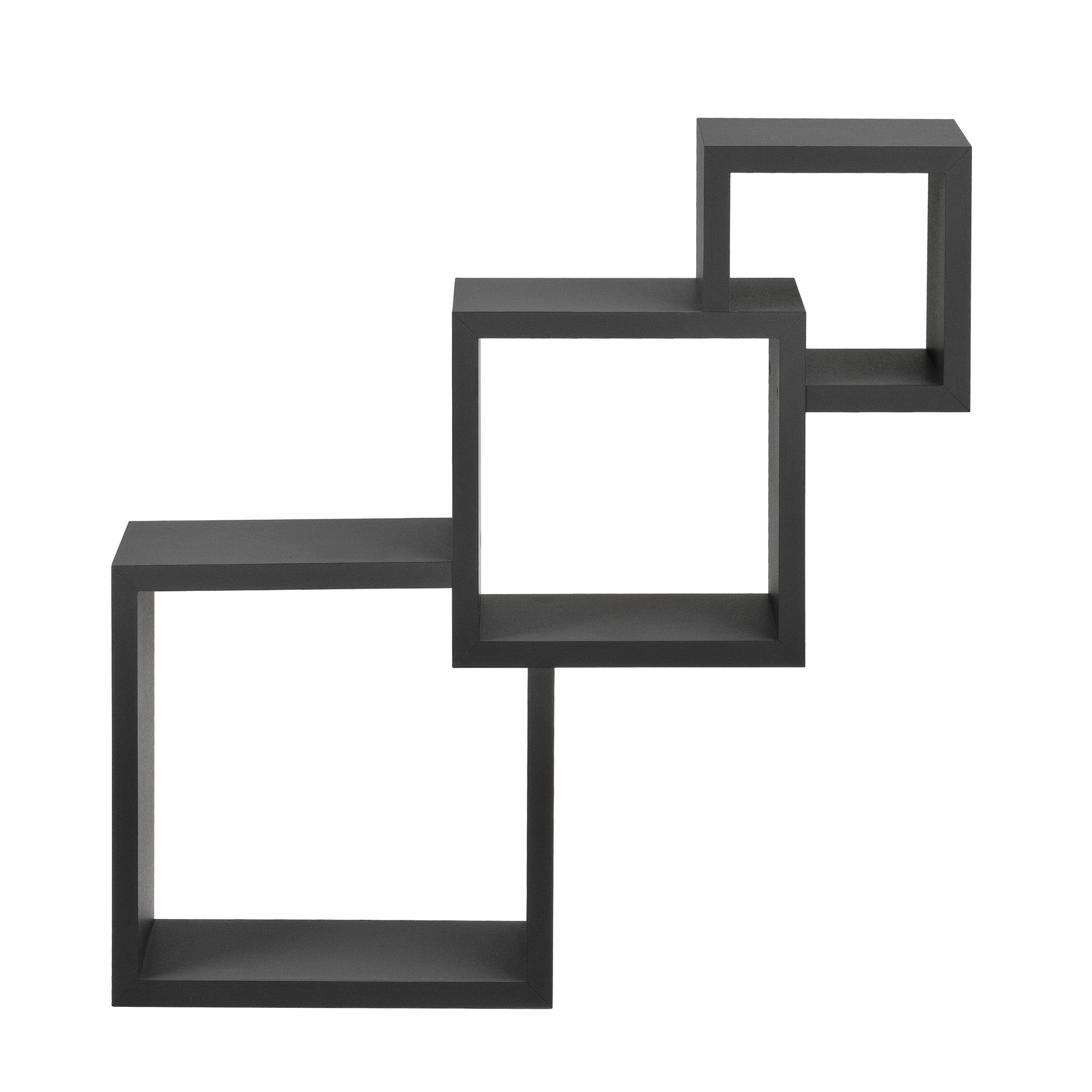 [en.casa]® Designová police na zeď - tmavě šedá - model 25