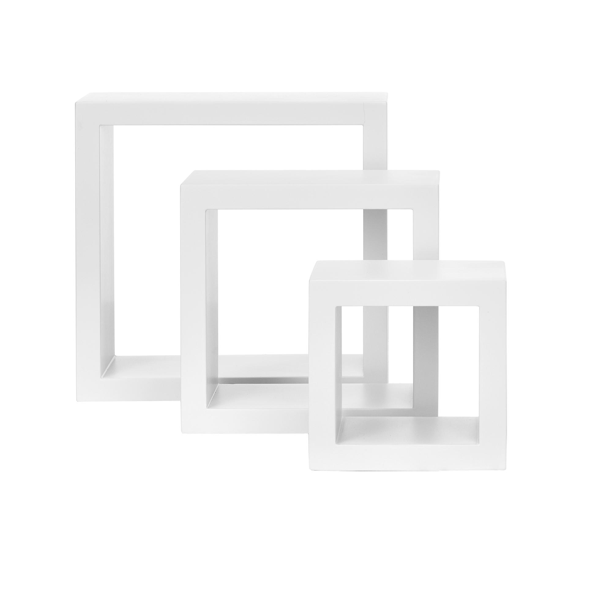 [en.casa]® Police na stěnu - 3 ks sada - retro styl - bílá