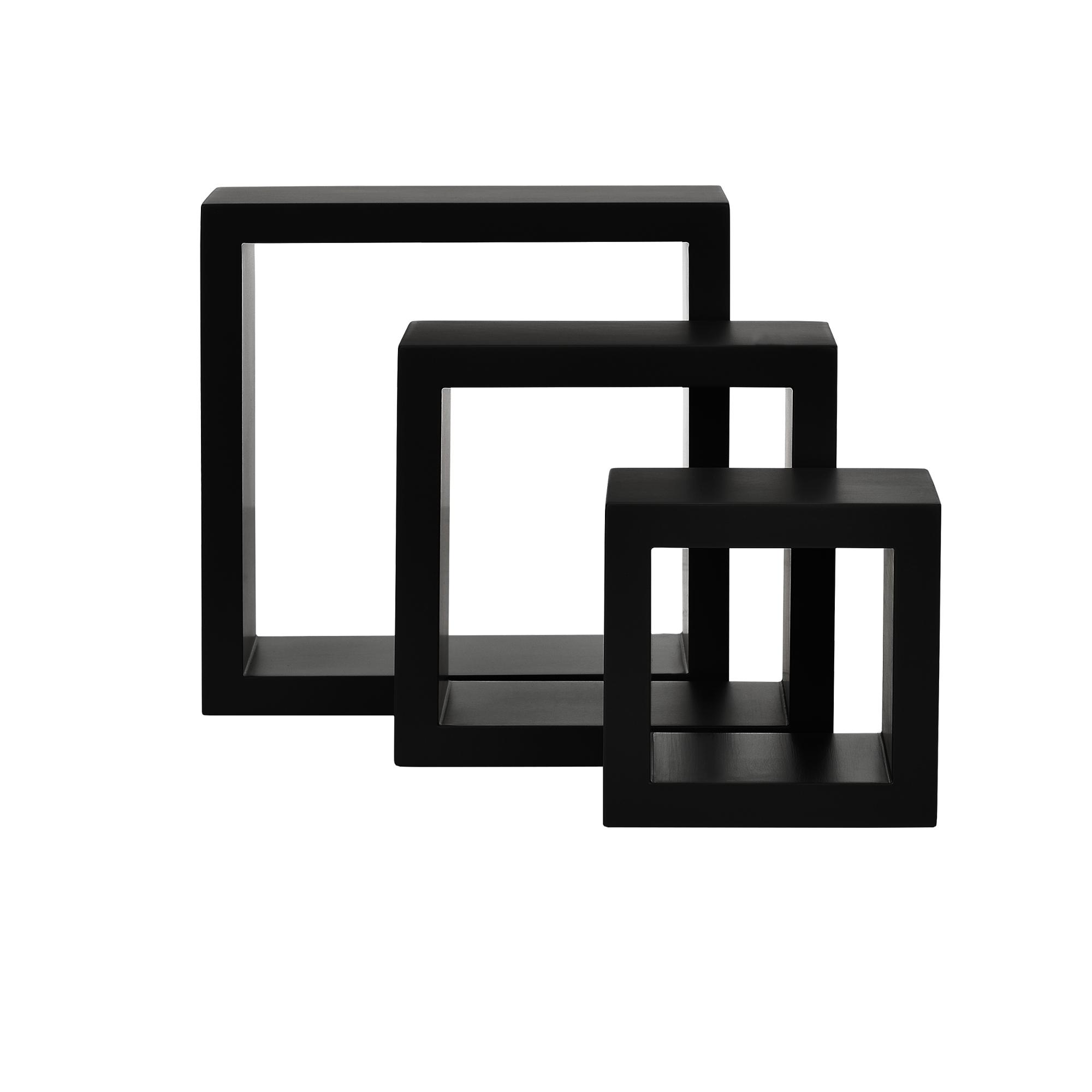 [en.casa]® Police na stěnu - 3 ks sada - retro styl - černá