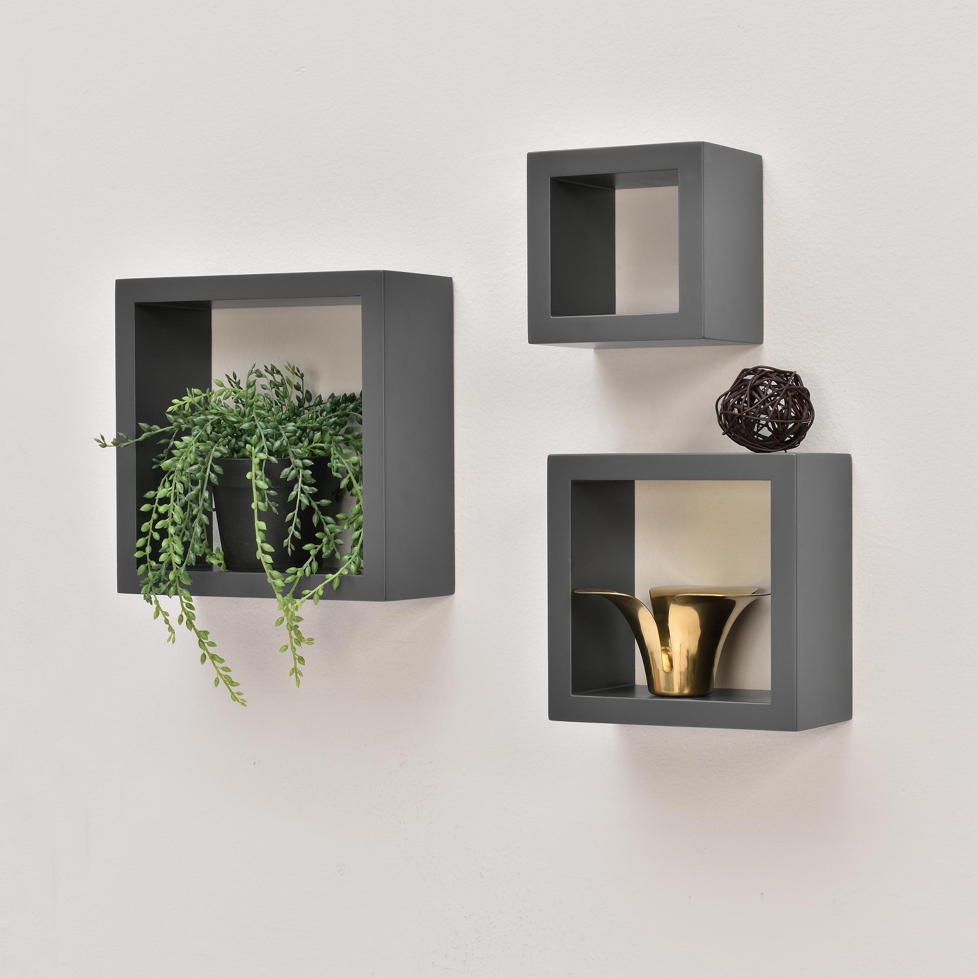 3er set wandregal h ngeregal b cherregal cube lounge cd regal grau ebay. Black Bedroom Furniture Sets. Home Design Ideas