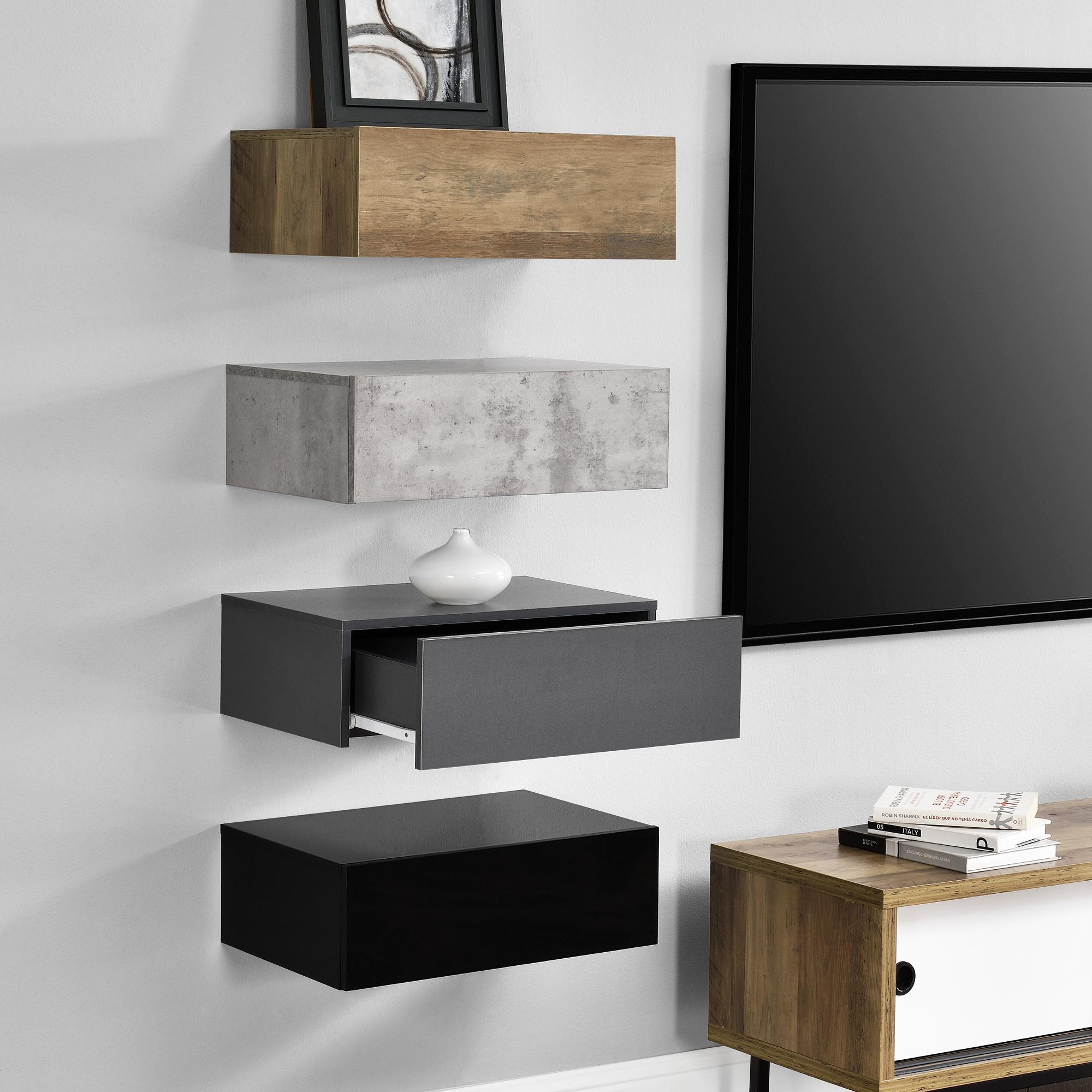 4x wandregal mit schublade h ngeregal regal set. Black Bedroom Furniture Sets. Home Design Ideas