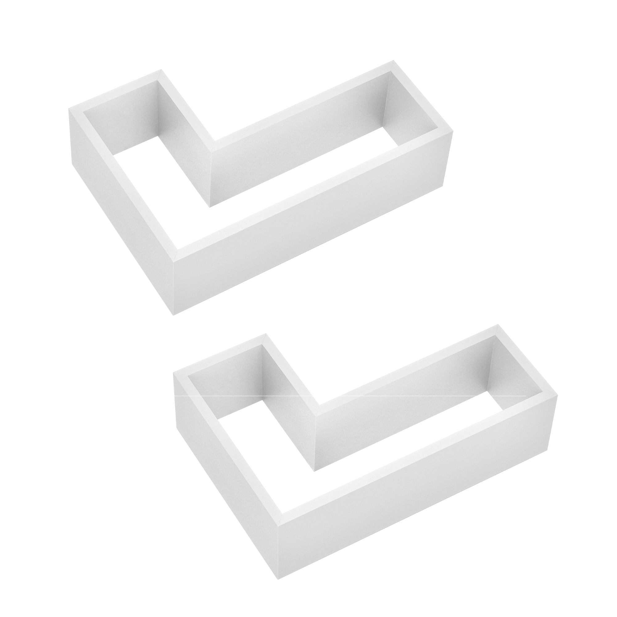 [en.casa]® Designová police na zeď - bílá - model 27