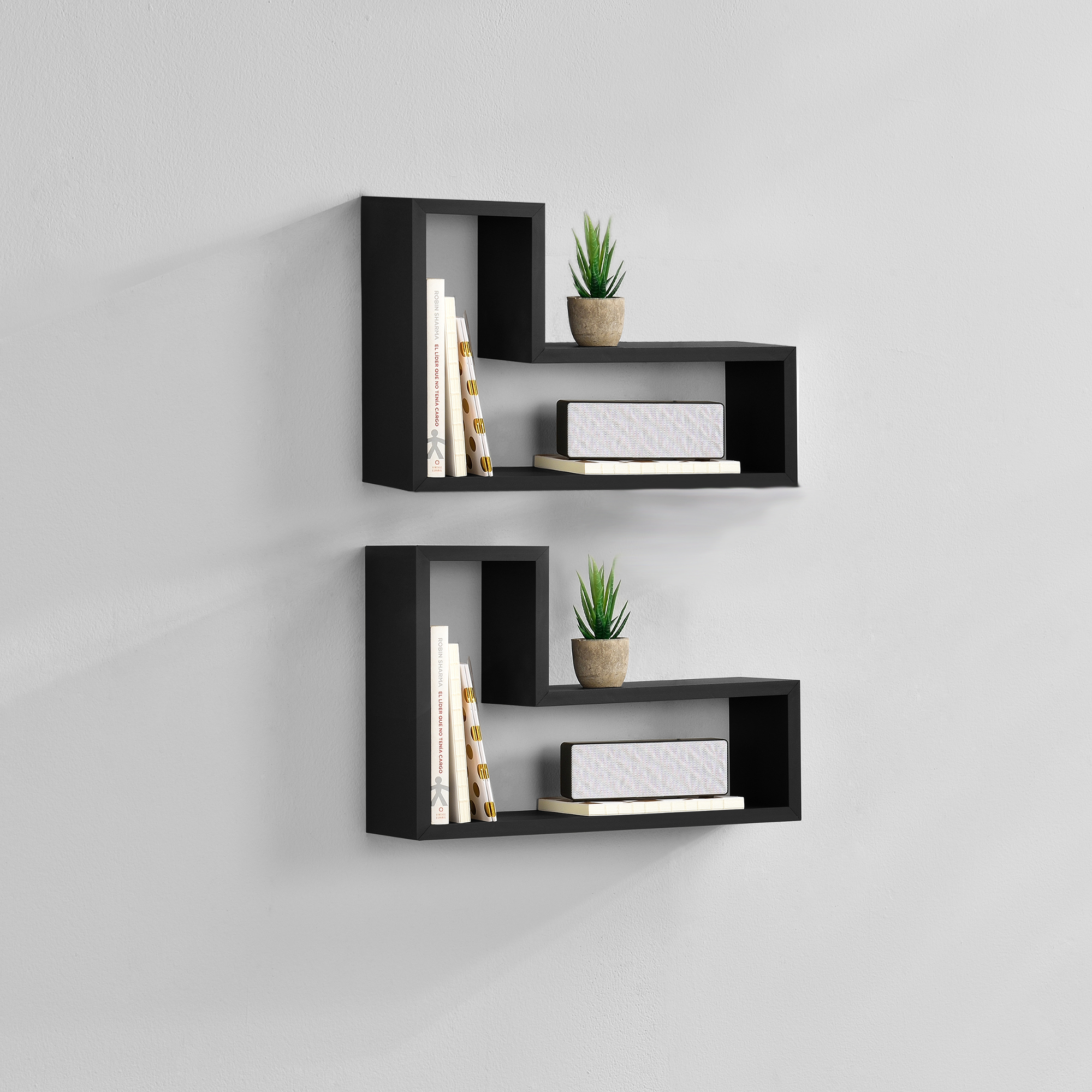 tag re murale en kit de 2 tag re suspendre tag re de livre cd noir ebay. Black Bedroom Furniture Sets. Home Design Ideas