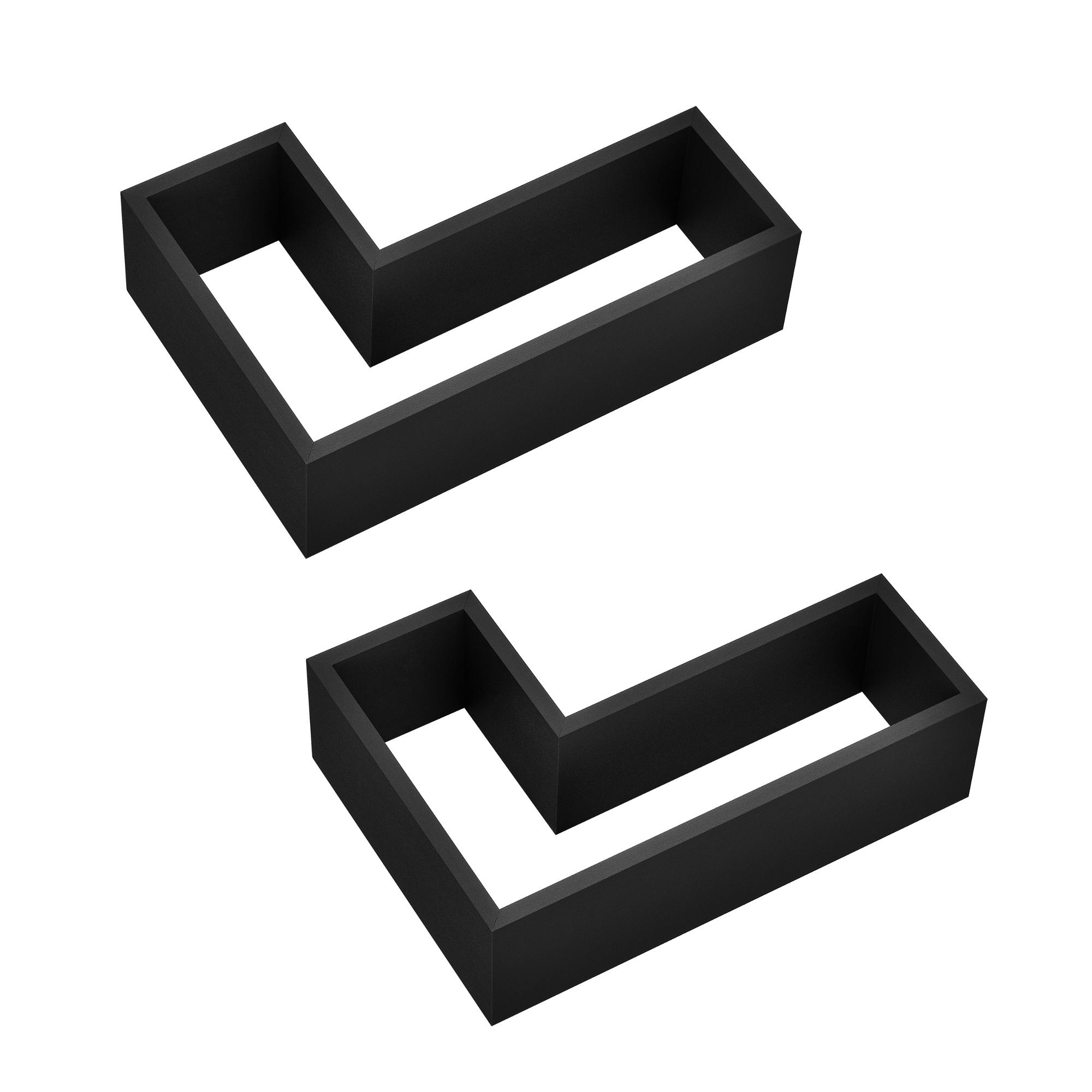[en.casa]® Designová police na zeď - černá - model 27