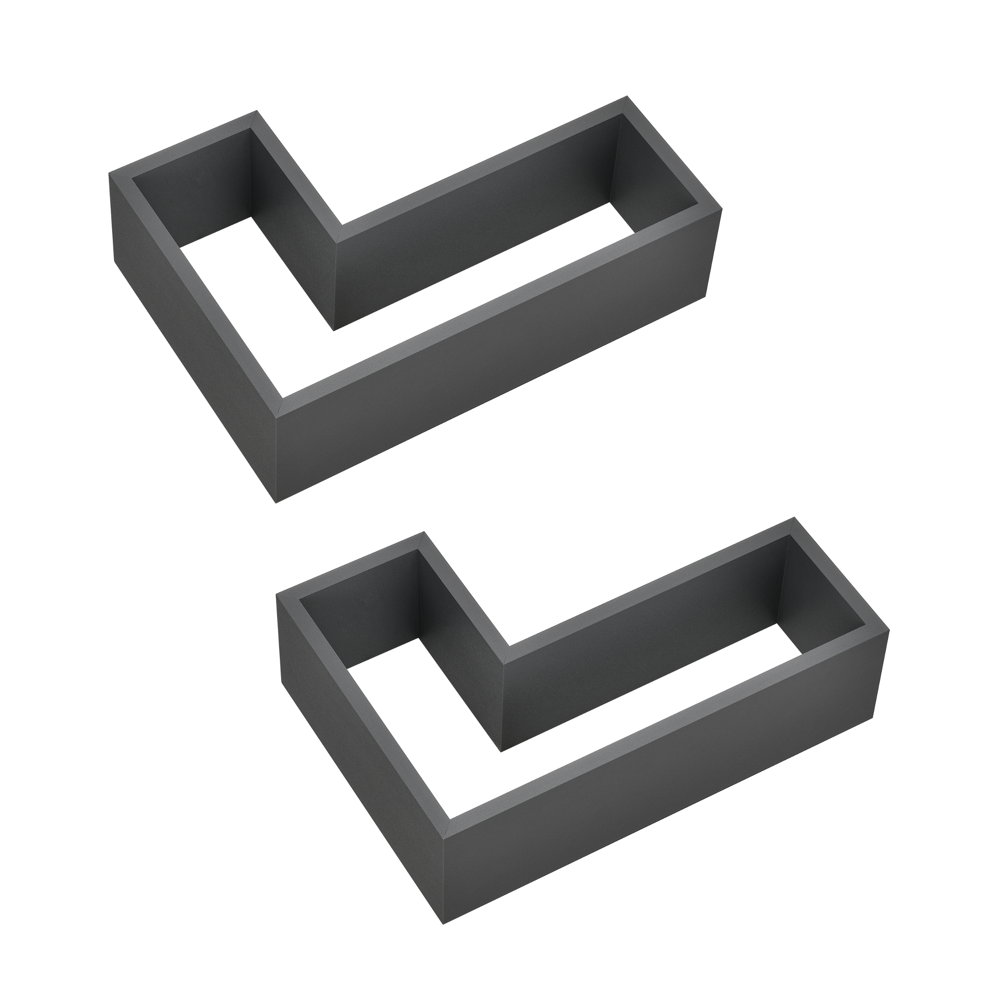[en.casa]® Designová police na zeď - tmavě šedá - model 27