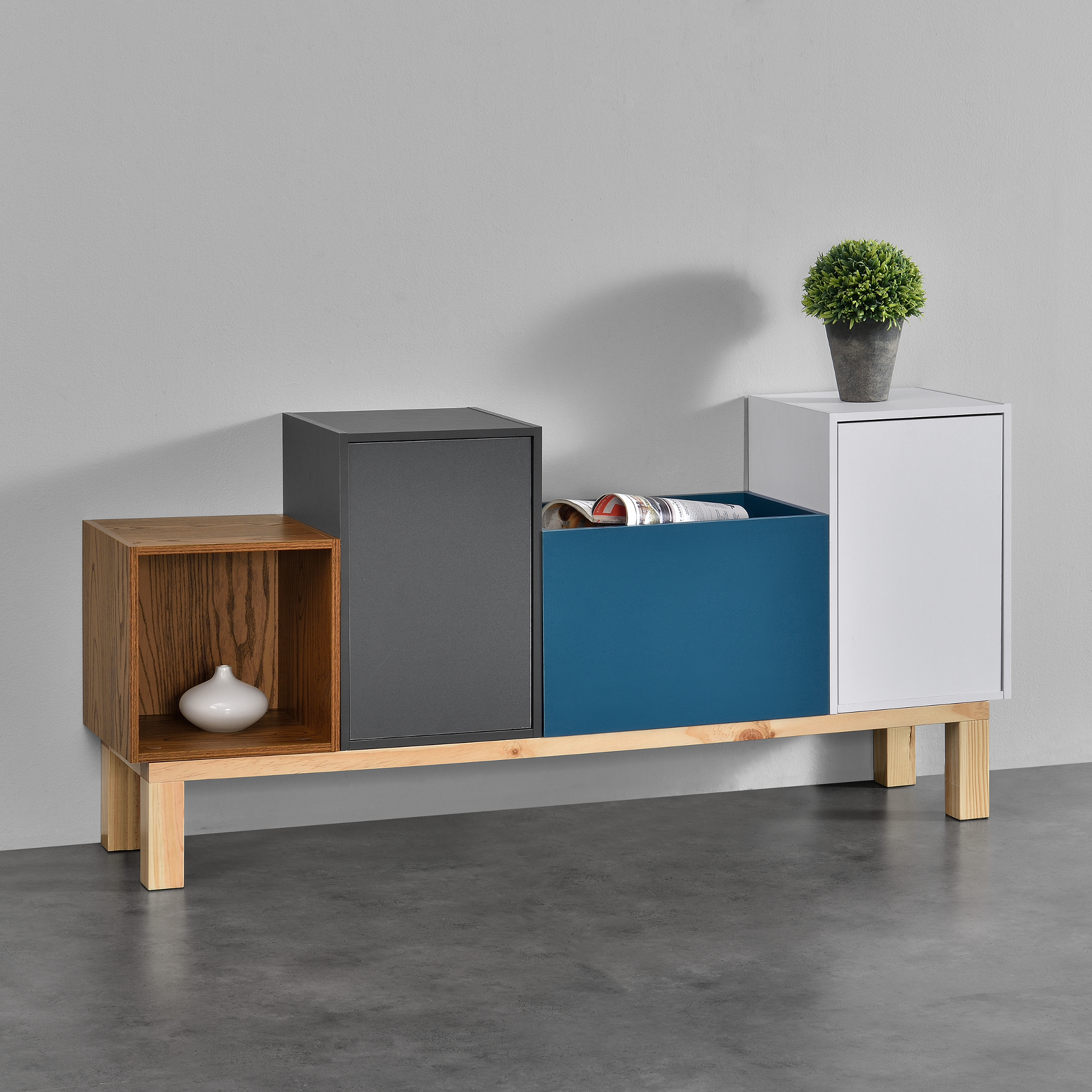 regalgestell 130x30x18cm gestell kommode sideboard regalf e standfu ebay. Black Bedroom Furniture Sets. Home Design Ideas
