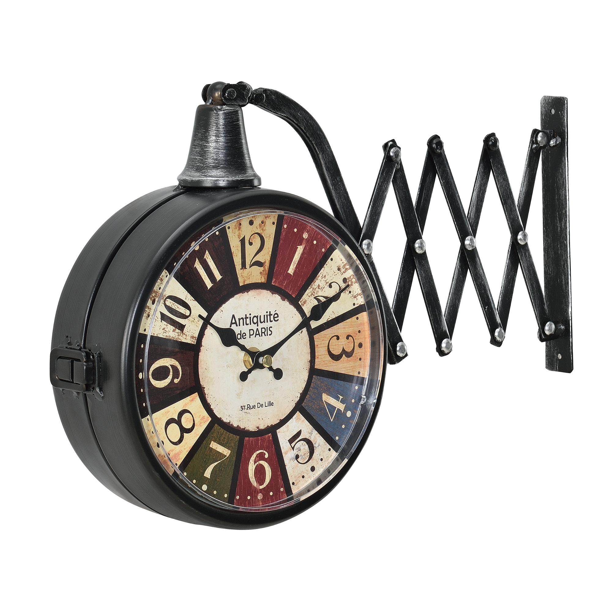 [en.casa]® Nádražní nástěnné hodiny - analogové oboustranné – 40 x 10 x 25 cm - antik