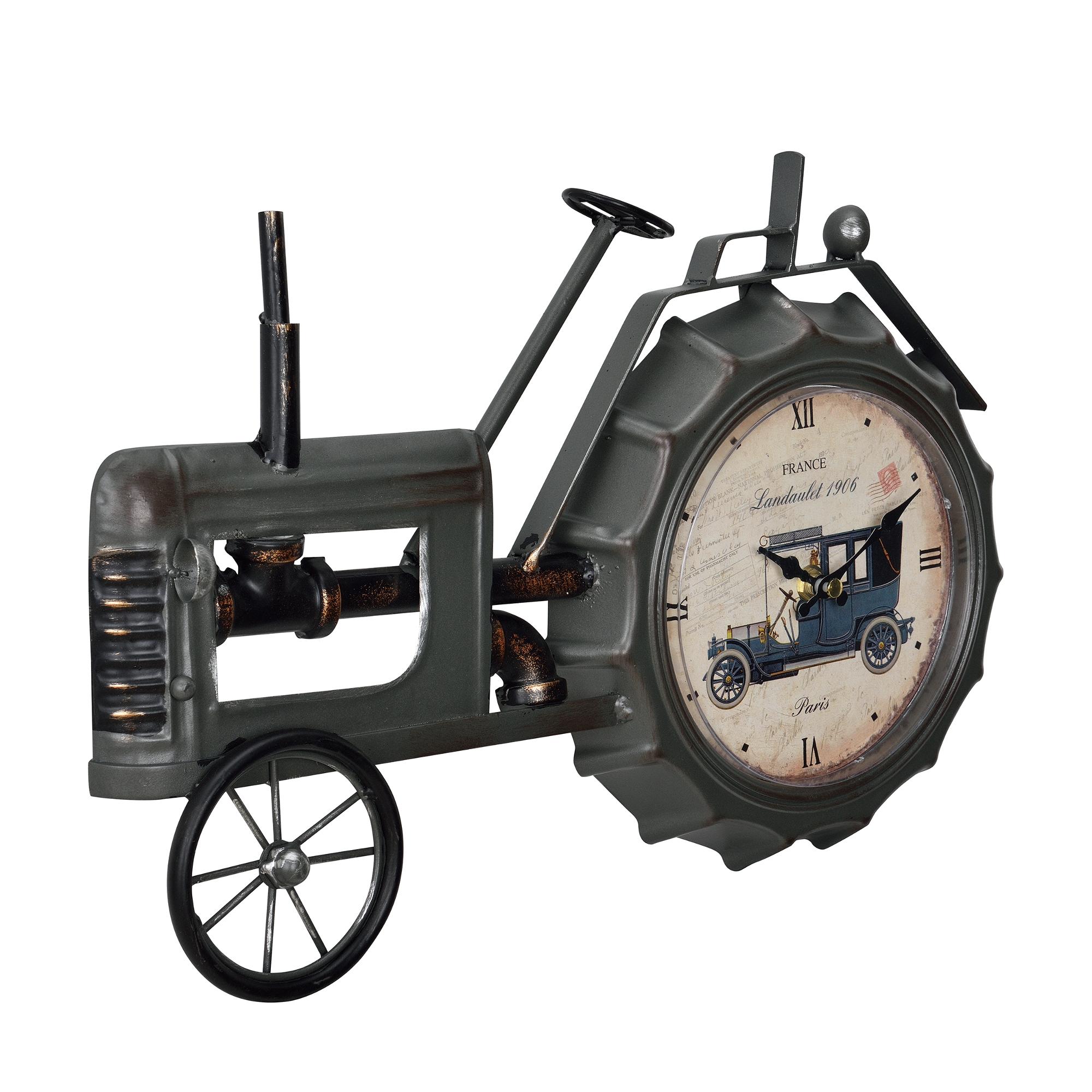 [en.casa]® Nástěnné hodiny ve tvaru traktoru – analogové - 41 x 3,5 x 27 cm - barevné