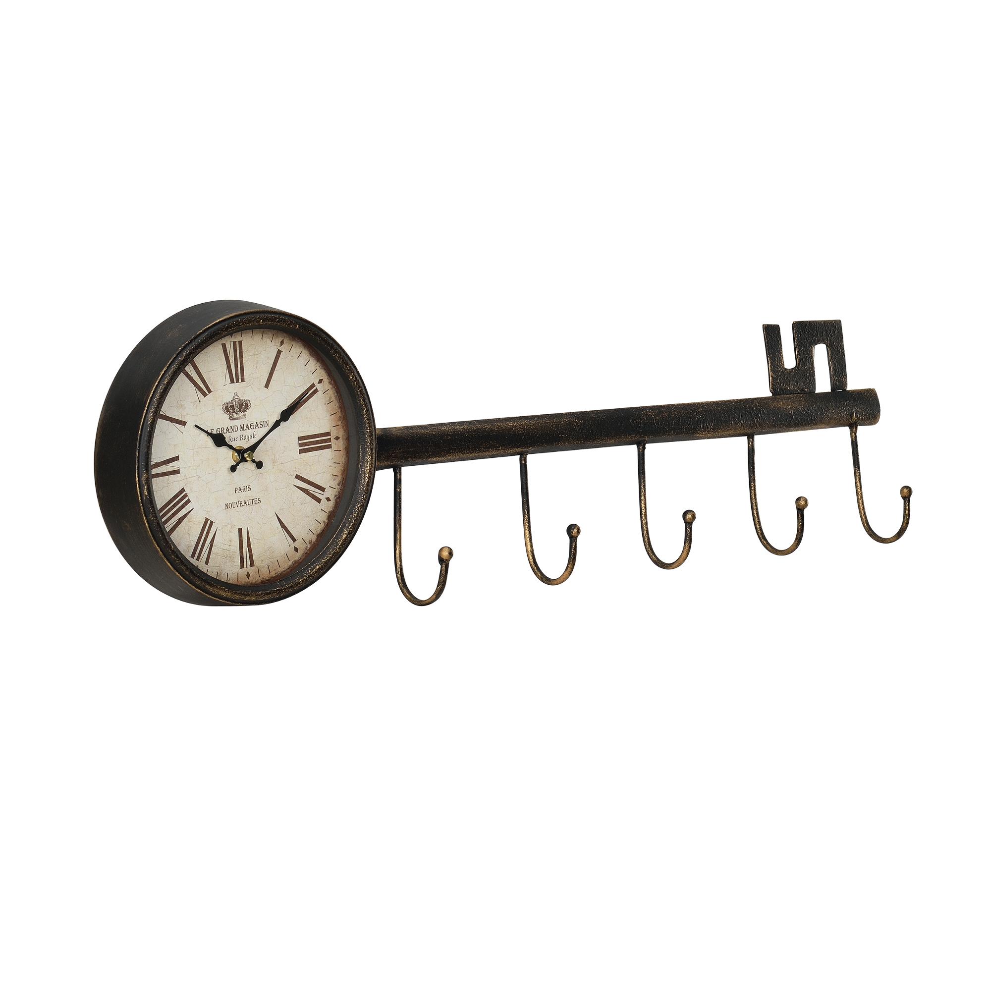 [en.casa]® Nástěnné hodiny ve tvaru klíče - analogové - 88 x 7 x 26 cm - barevné – sklo