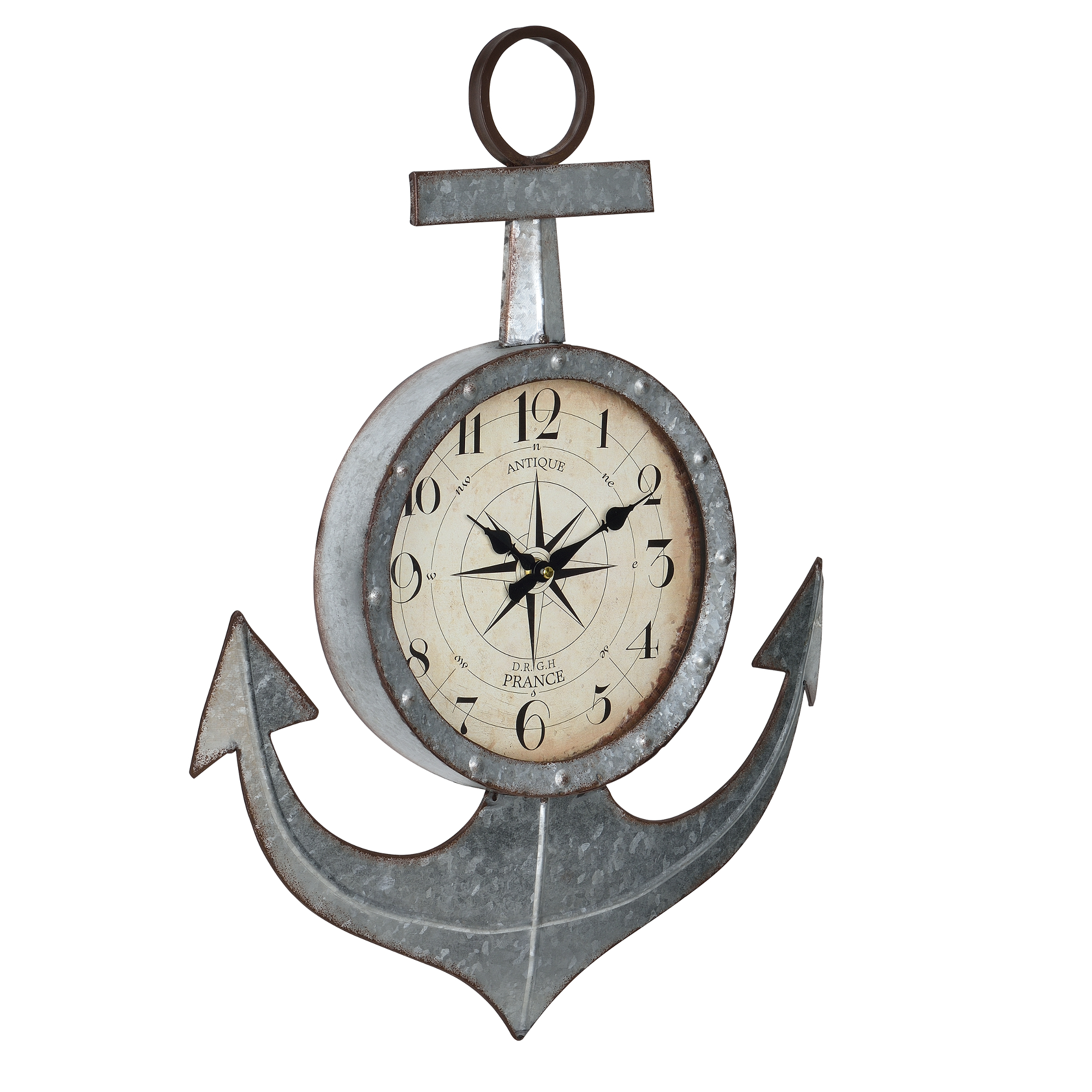 [en.casa]® Nástěnné hodiny ve tvaru kotvy - analogové - 47 x 6 x 62 cm - barevné - sklo