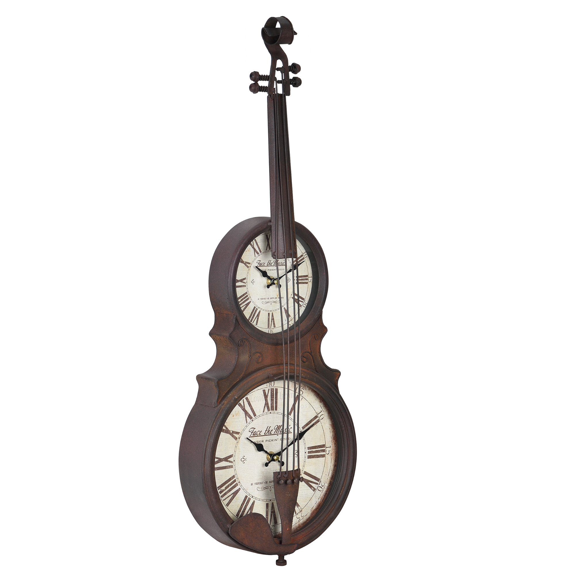 [en.casa]® Nástěnné hodiny ve tvaru smyčcového hudebního nástroje - analogové - 47 x 6 x 62 cm - barevné - sklo