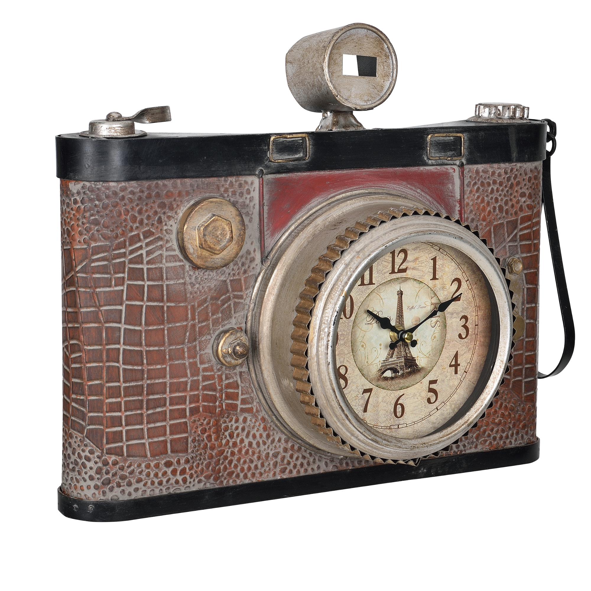 [en.casa]® Nástěnné hodiny ve tvaru starého fotoaparátu - analogové - 43 x 14 x 34 cm – barevné - sklo
