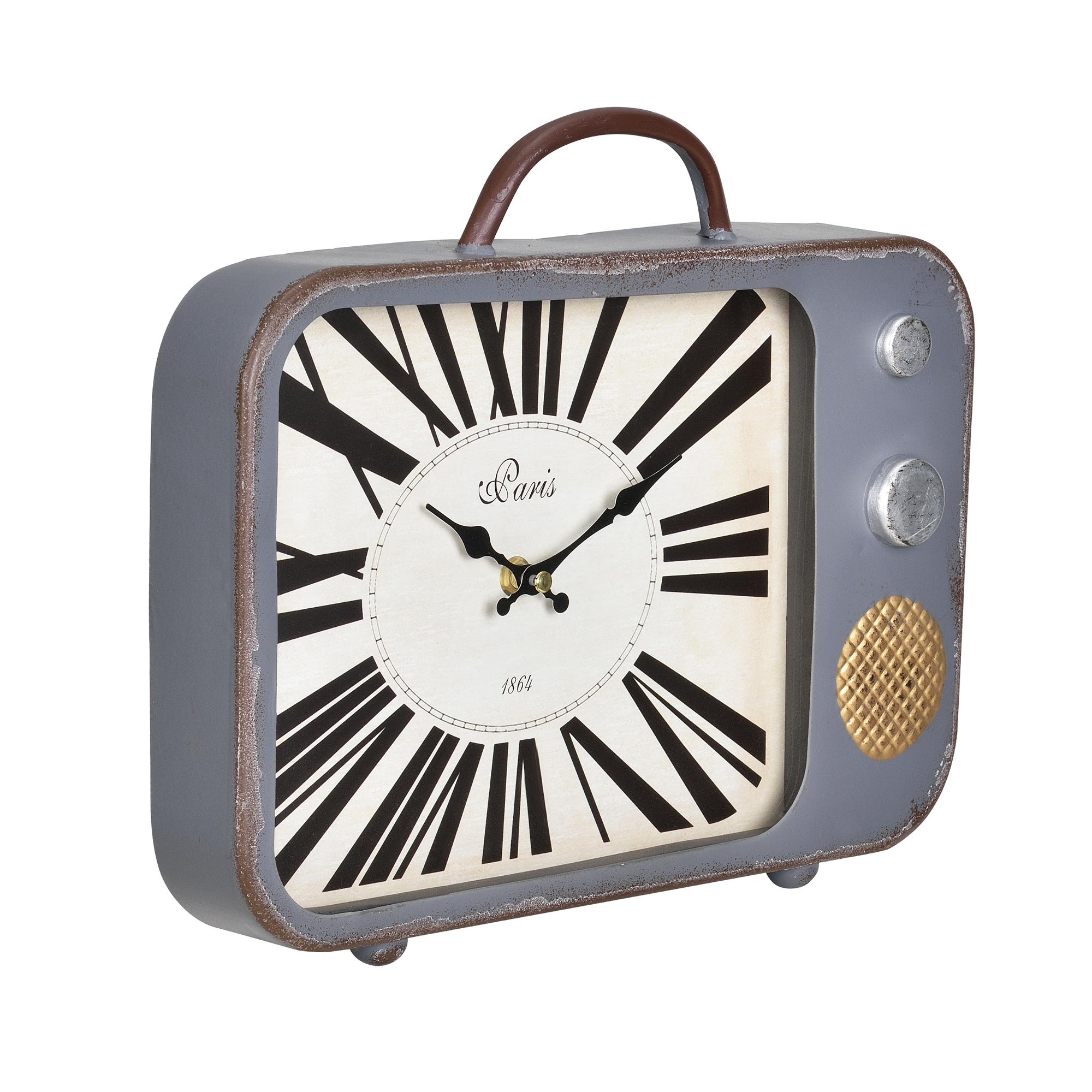 [en.casa]® Nástěnné hodiny stará televize - analogové - 33 x 5 x 27 cm - barevné – sklo