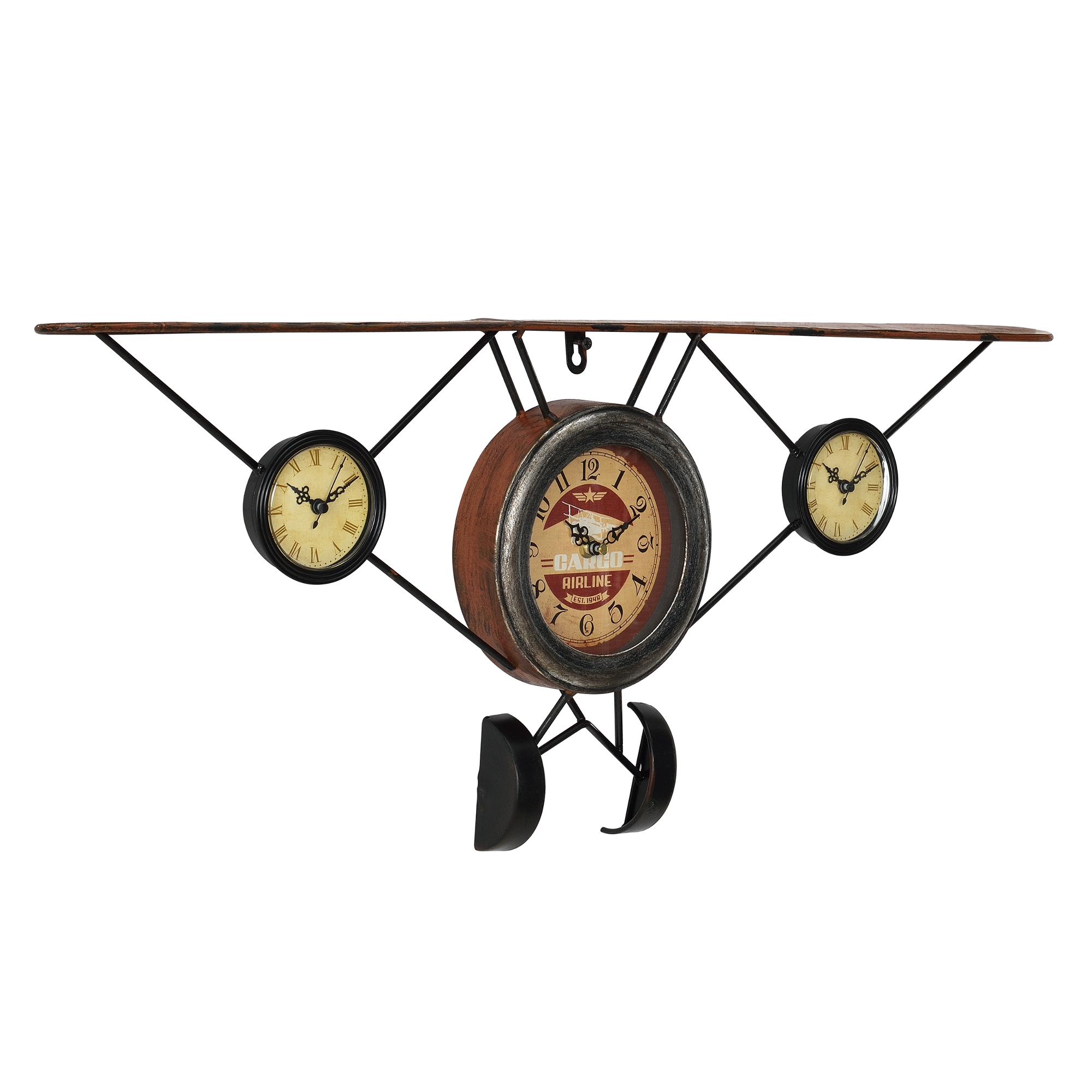 [en.casa]® Nástěnné hodiny ve tvaru starého letadla - analogové - 78 x 5 x 32 cm - barevné – sklo