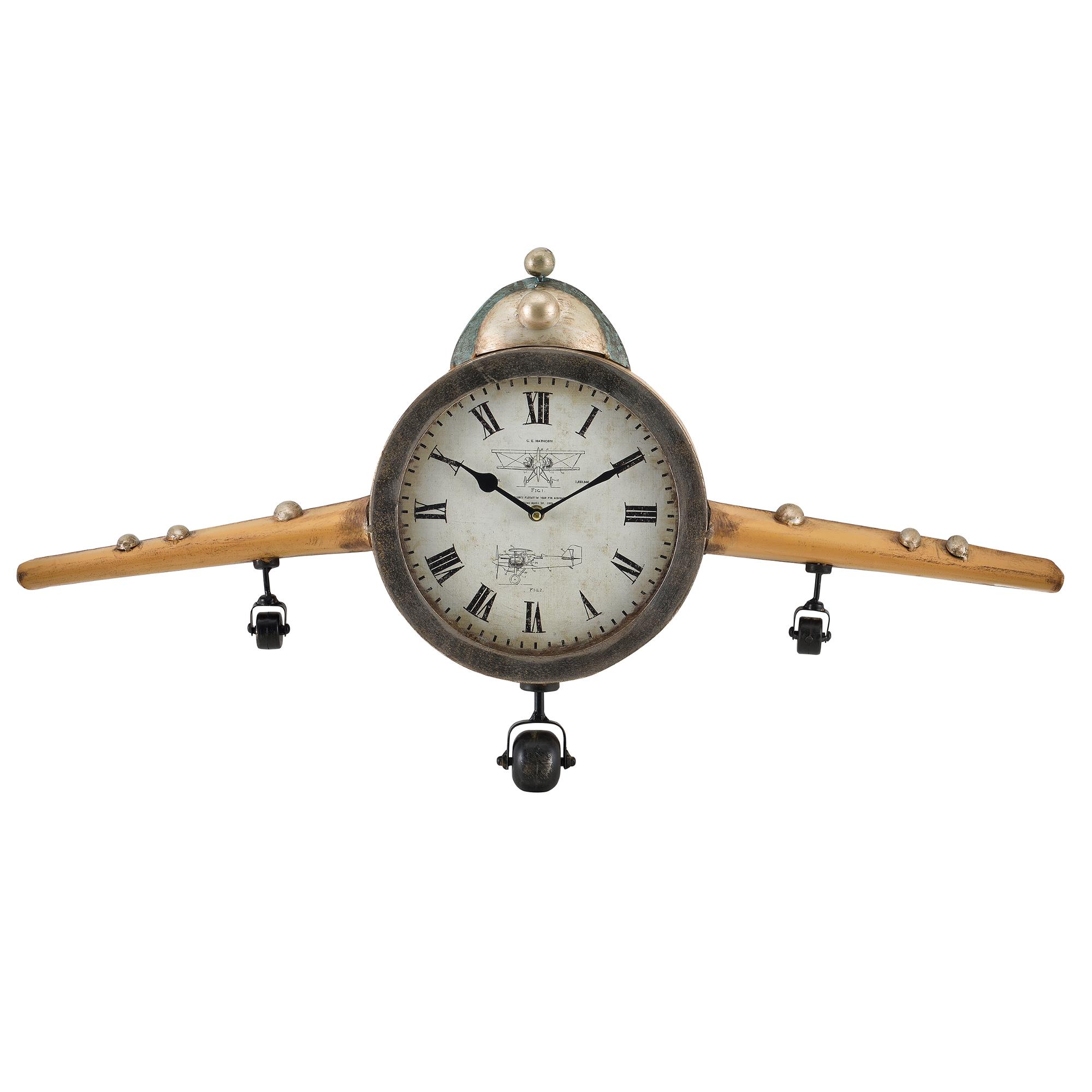 horloge murale avion frontal m tal d co montre. Black Bedroom Furniture Sets. Home Design Ideas