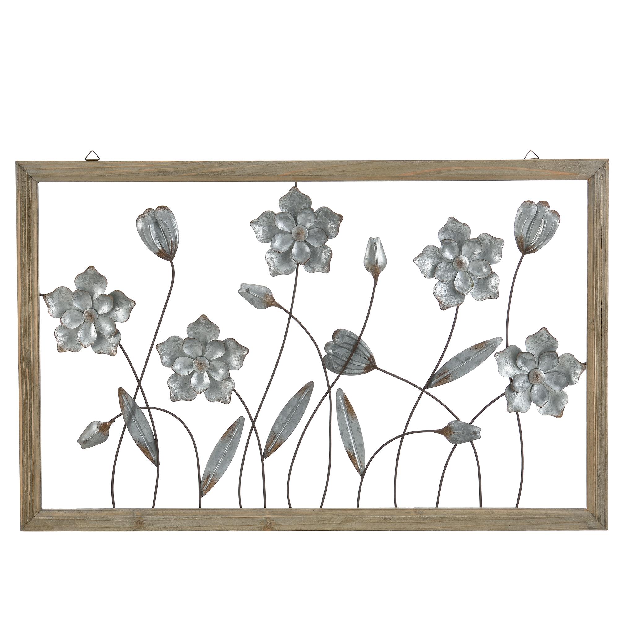 Decoraci n de pared mural prado flores metal for Adornos pared metal