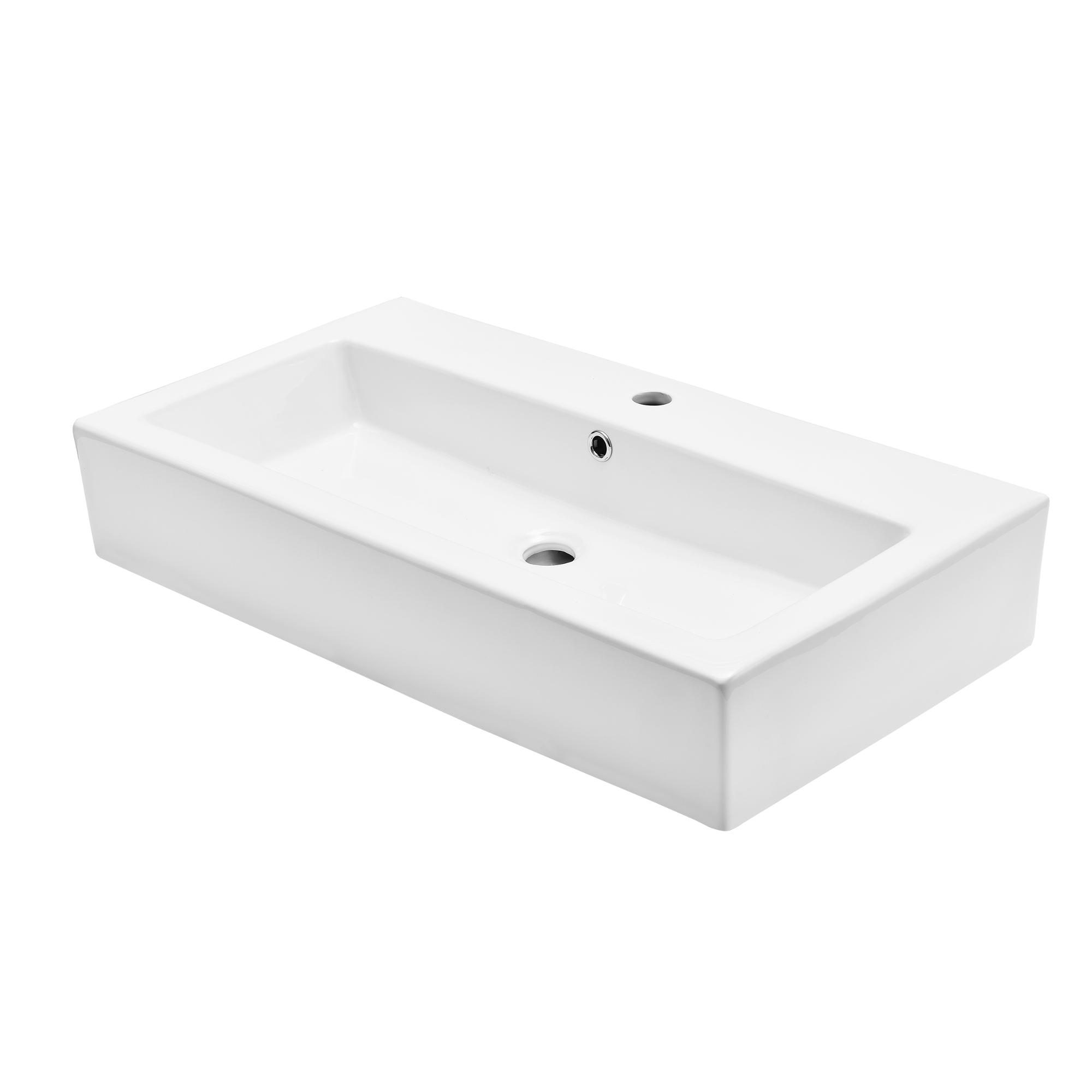 waschbecken aufsatzwaschbecken 80x44cm keramik wei waschtisch wand ebay. Black Bedroom Furniture Sets. Home Design Ideas