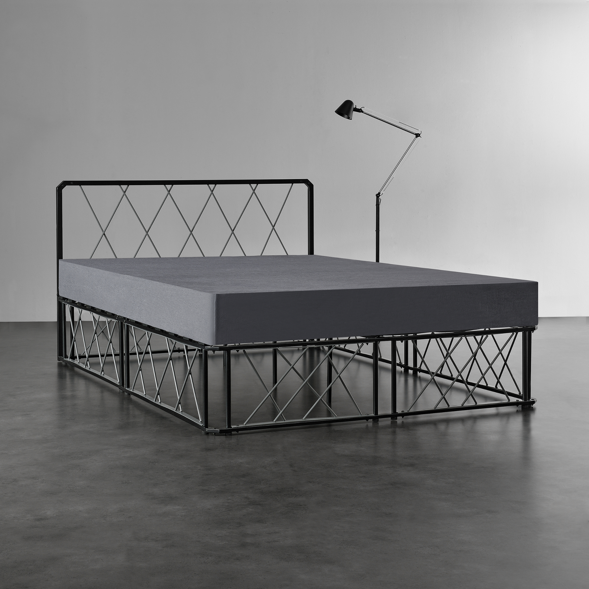 metallbett 140x200 schwarz grau bettgestell design bett schlafzimmer 4251155589216 ebay. Black Bedroom Furniture Sets. Home Design Ideas