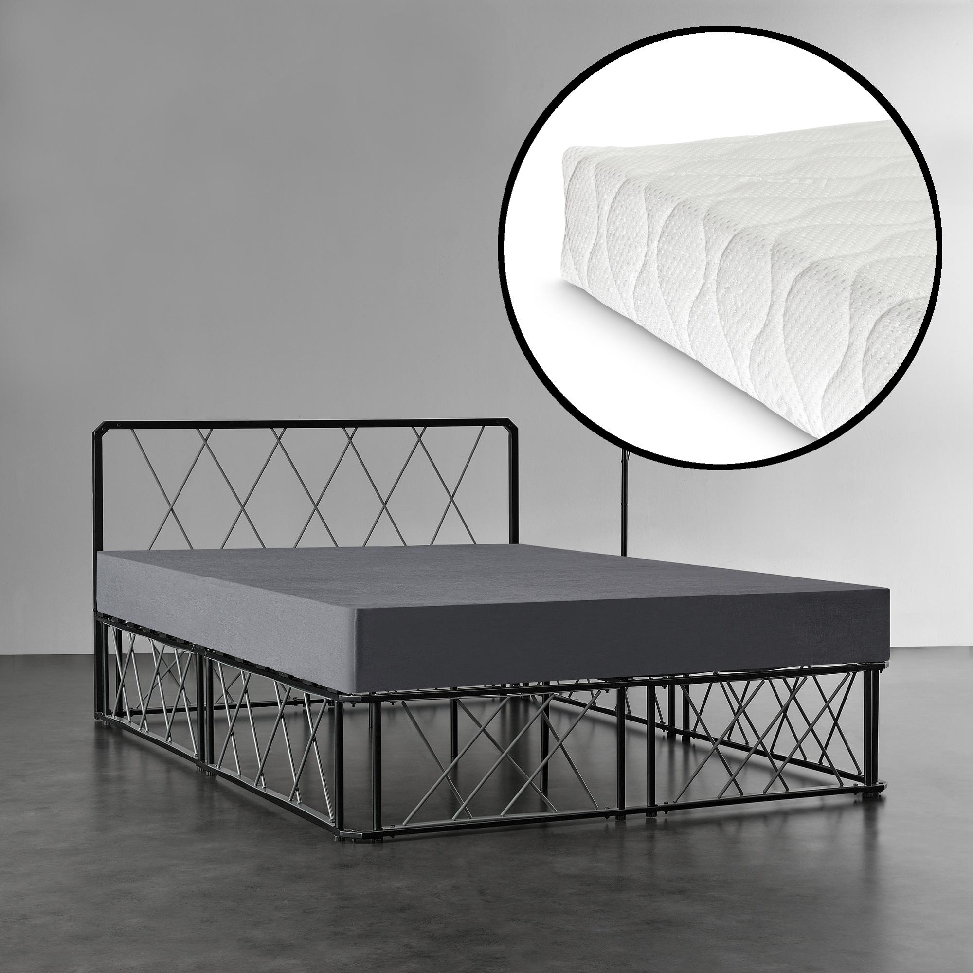 metallbett 140x200 schwarz grau mit matratze. Black Bedroom Furniture Sets. Home Design Ideas
