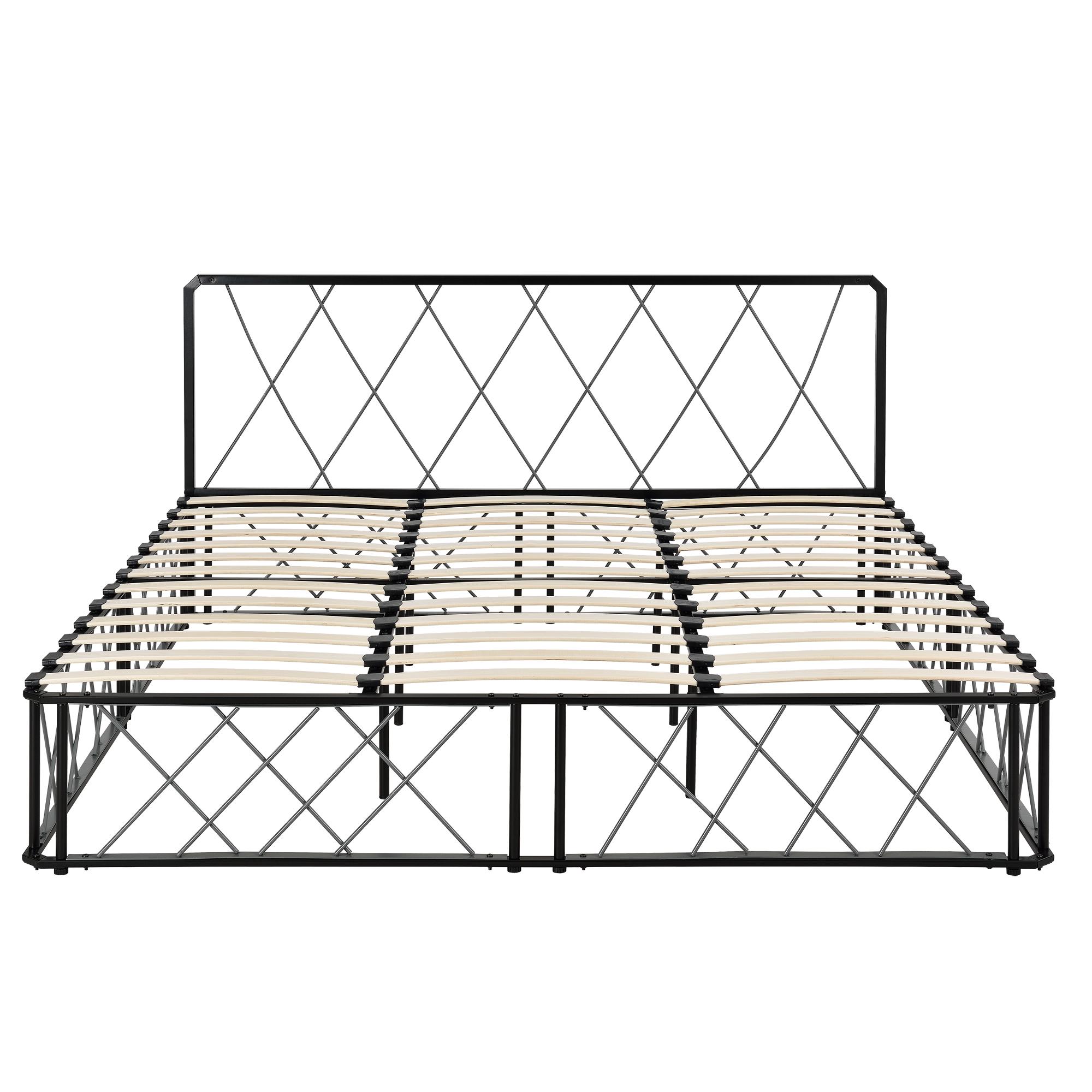 metallbett 180x200 schwarz grau mit matratze. Black Bedroom Furniture Sets. Home Design Ideas