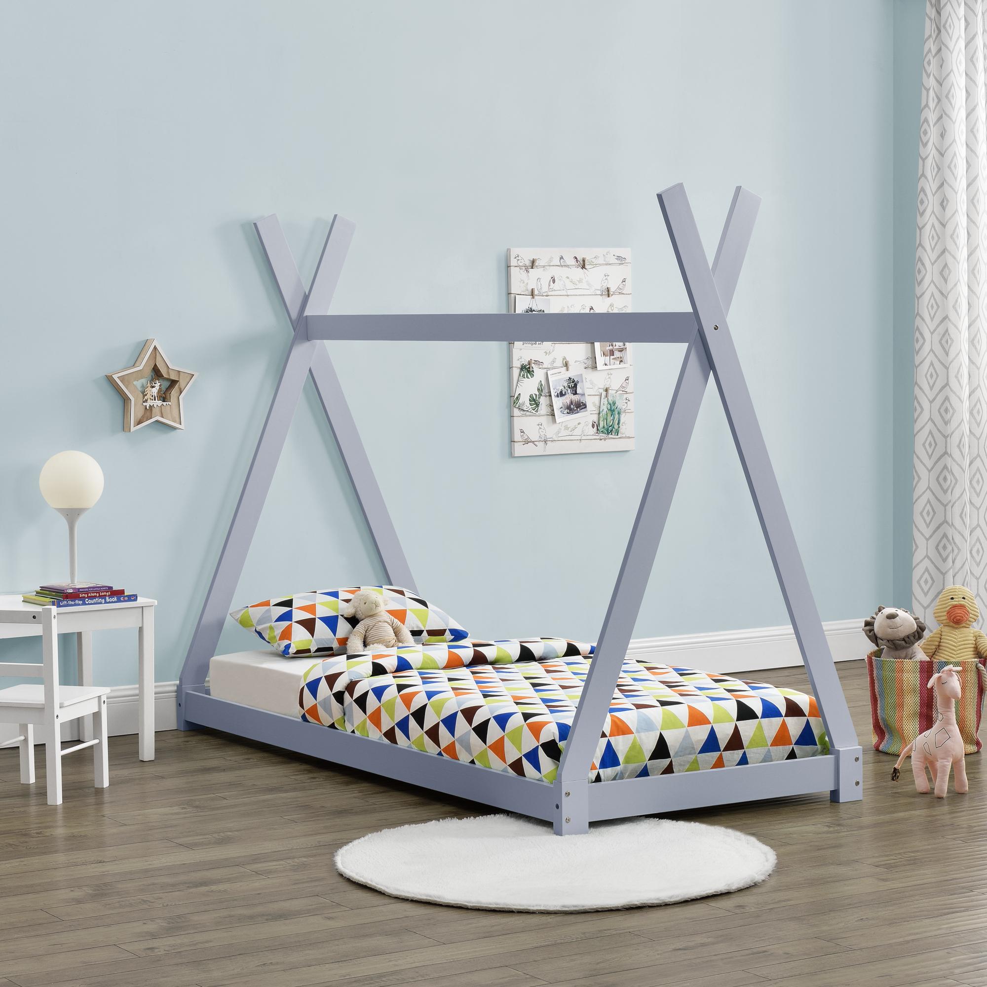 en.casa Kinderbett 90x200cm Tipi Indianer Bett Holz Grau Hausbett Kinder Haus