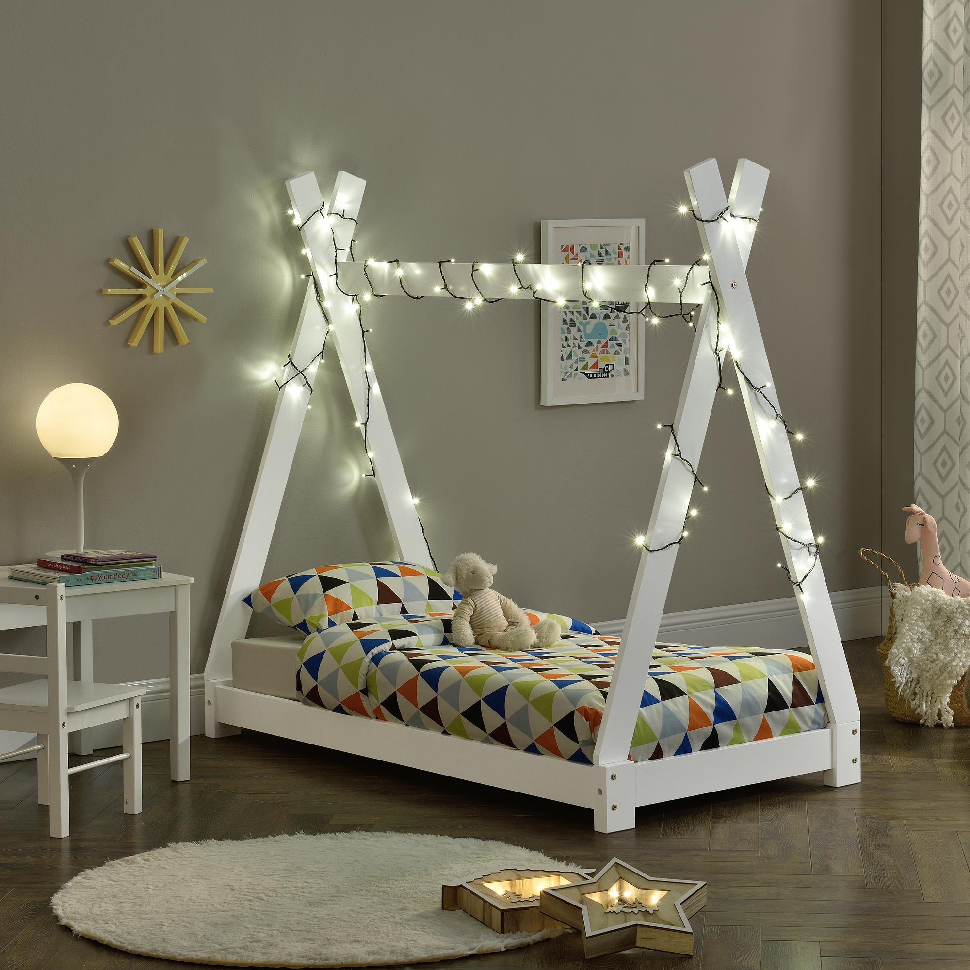 Deco Latte De Bois détails sur en.casa lit de tipi enfant naturel avec sommier à lattes bois  140x70cm blanc
