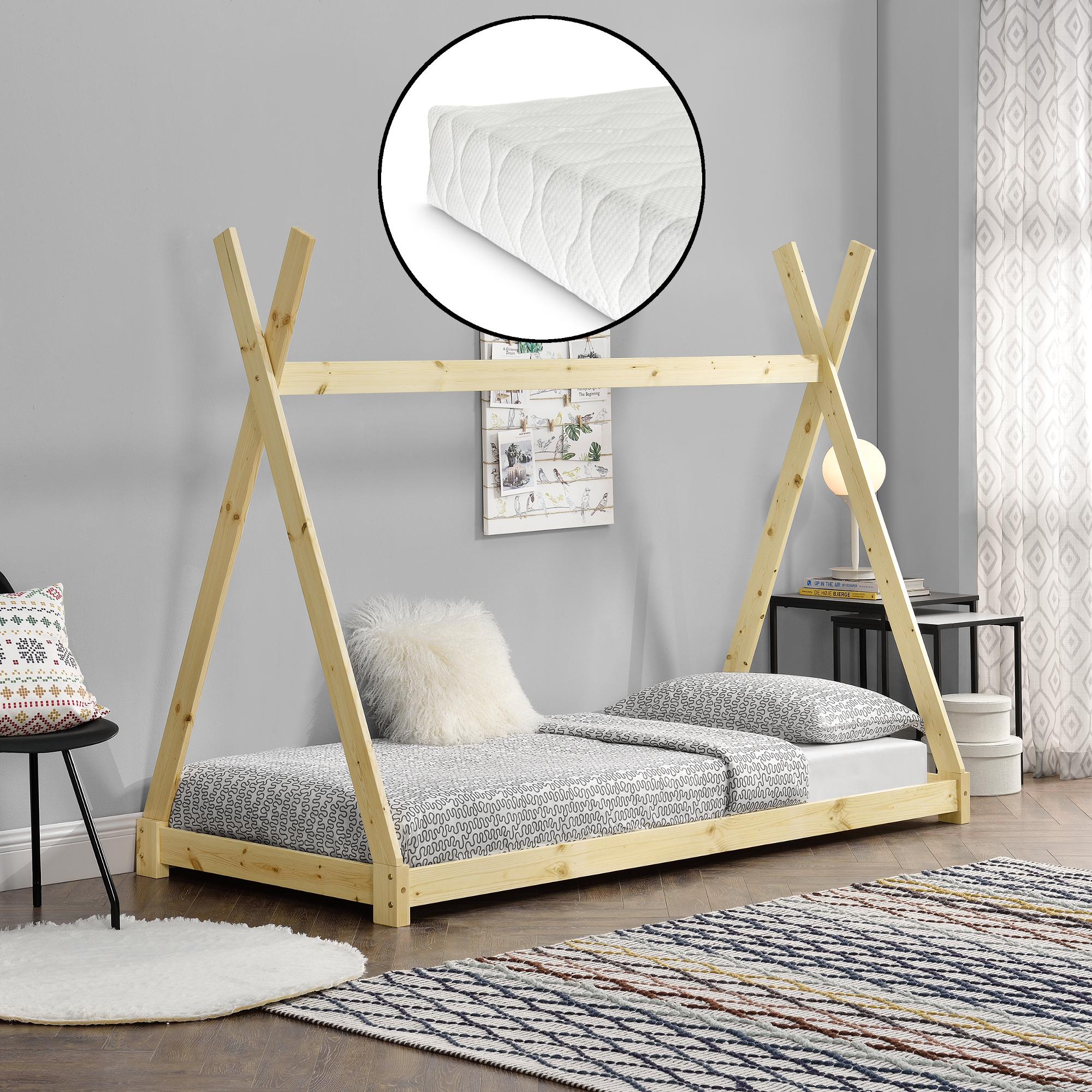 En Casa Kinderbett Matratze 90x200cm Tipi Indianer Bett Holz