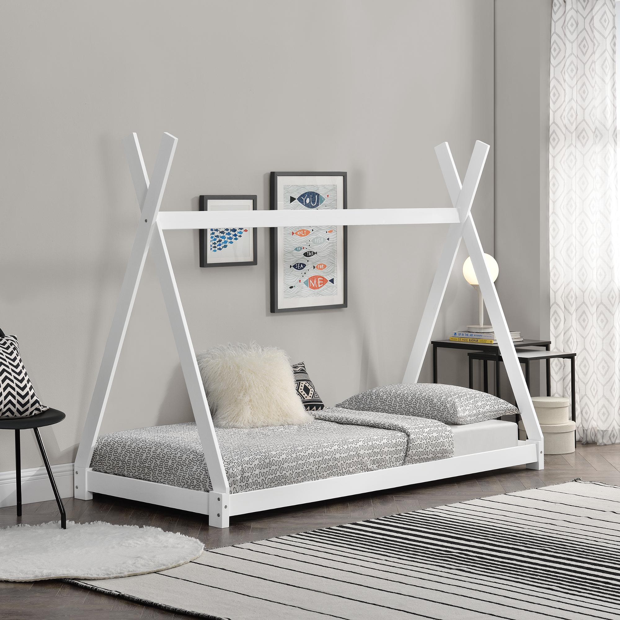 En Casa Kinderbett 90x200cm Tipi Indianer Bett Holz Weiss Hausbett