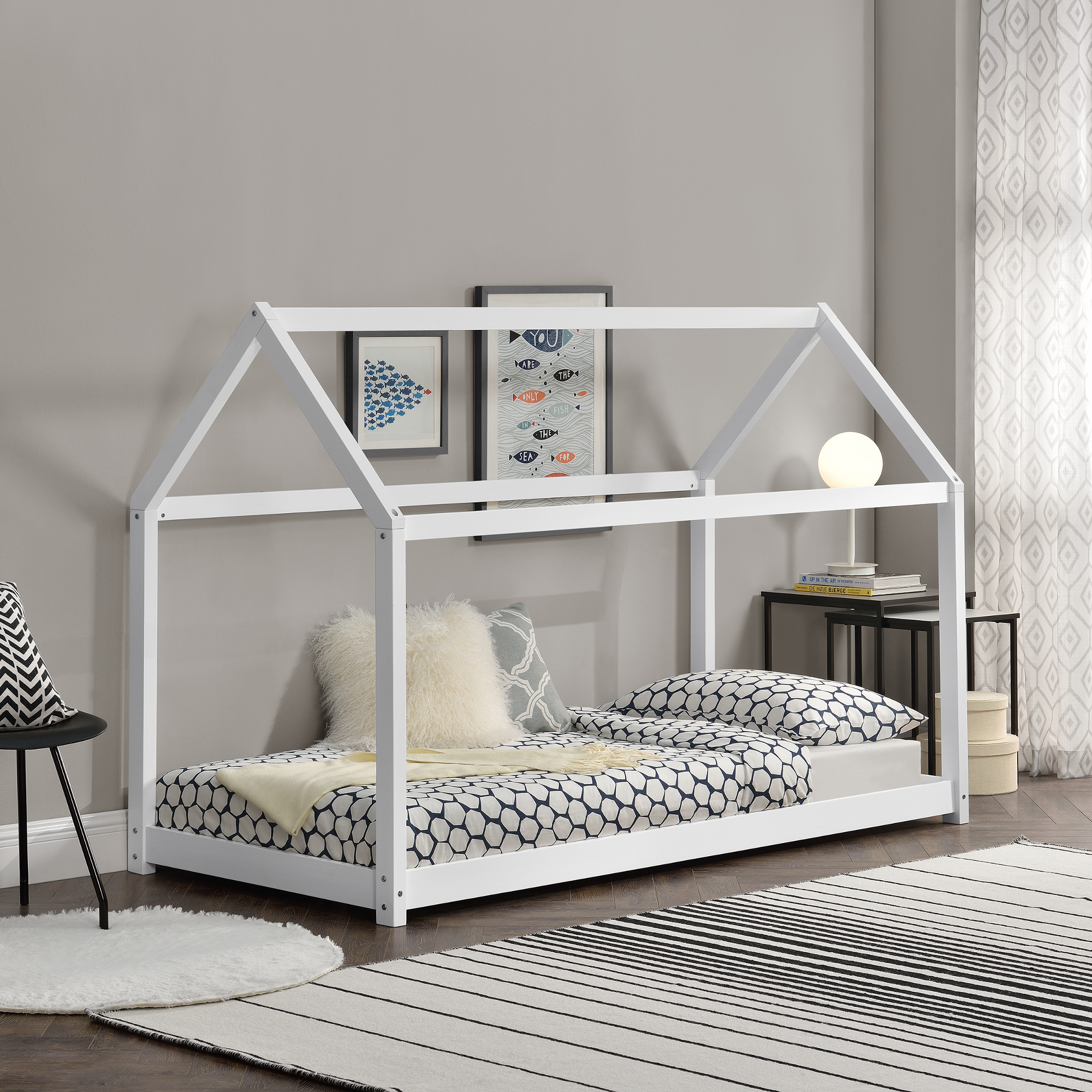kinderbett 90x200cm haus holz wei bettenhaus hausbett kinder bett ebay. Black Bedroom Furniture Sets. Home Design Ideas