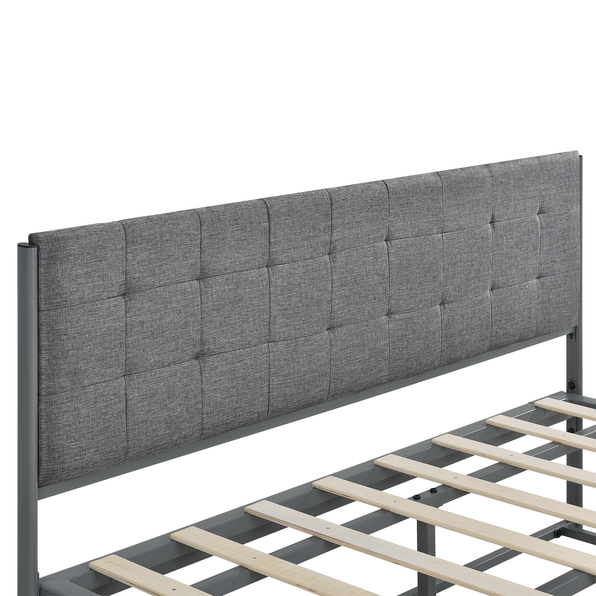 lit double et avec matela 140 x 200 cm gris avec cadre gris fonc ebay. Black Bedroom Furniture Sets. Home Design Ideas