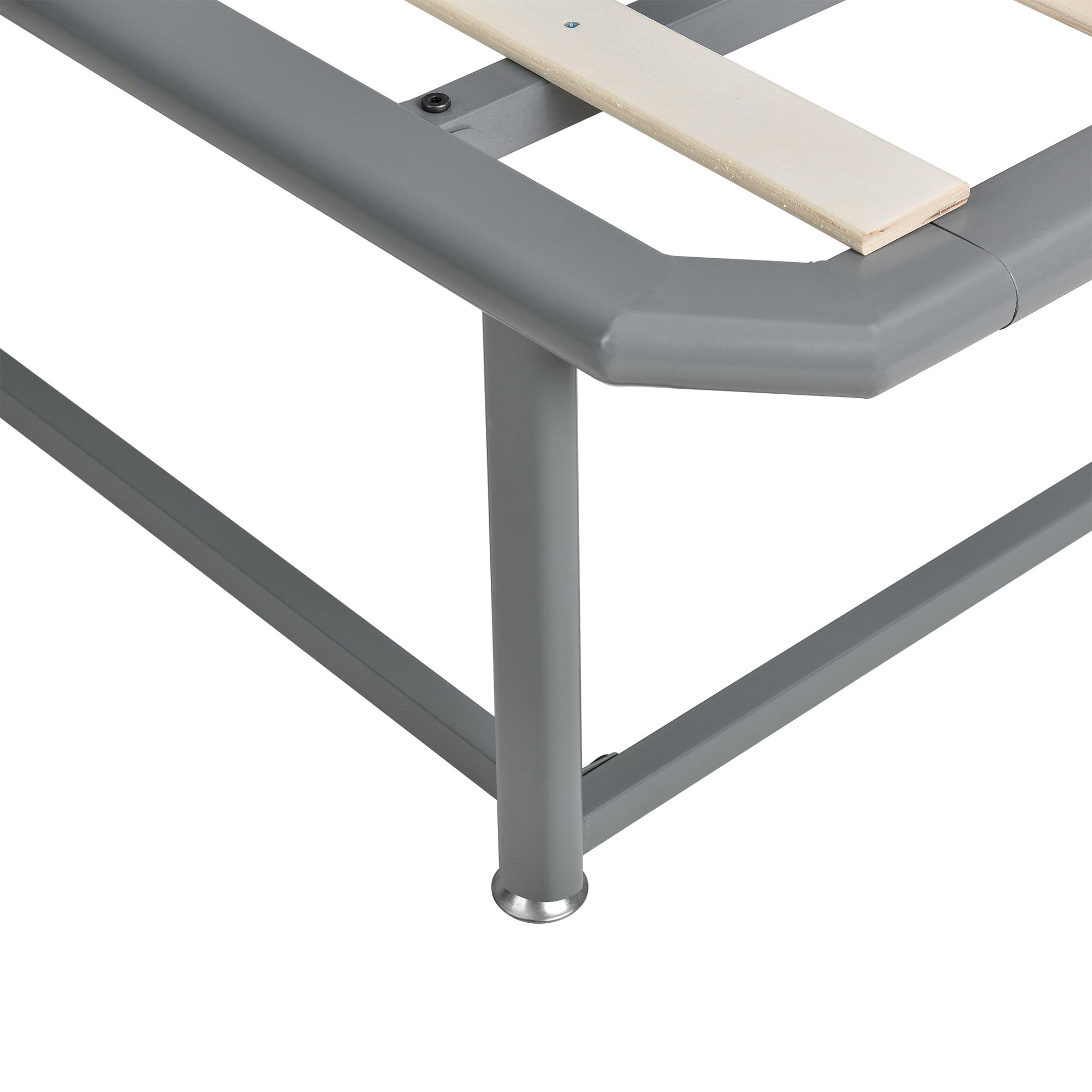 en.casa]® Metallbett 140x200 Grau Bettgestell Bett Polsterbett Stoff ...