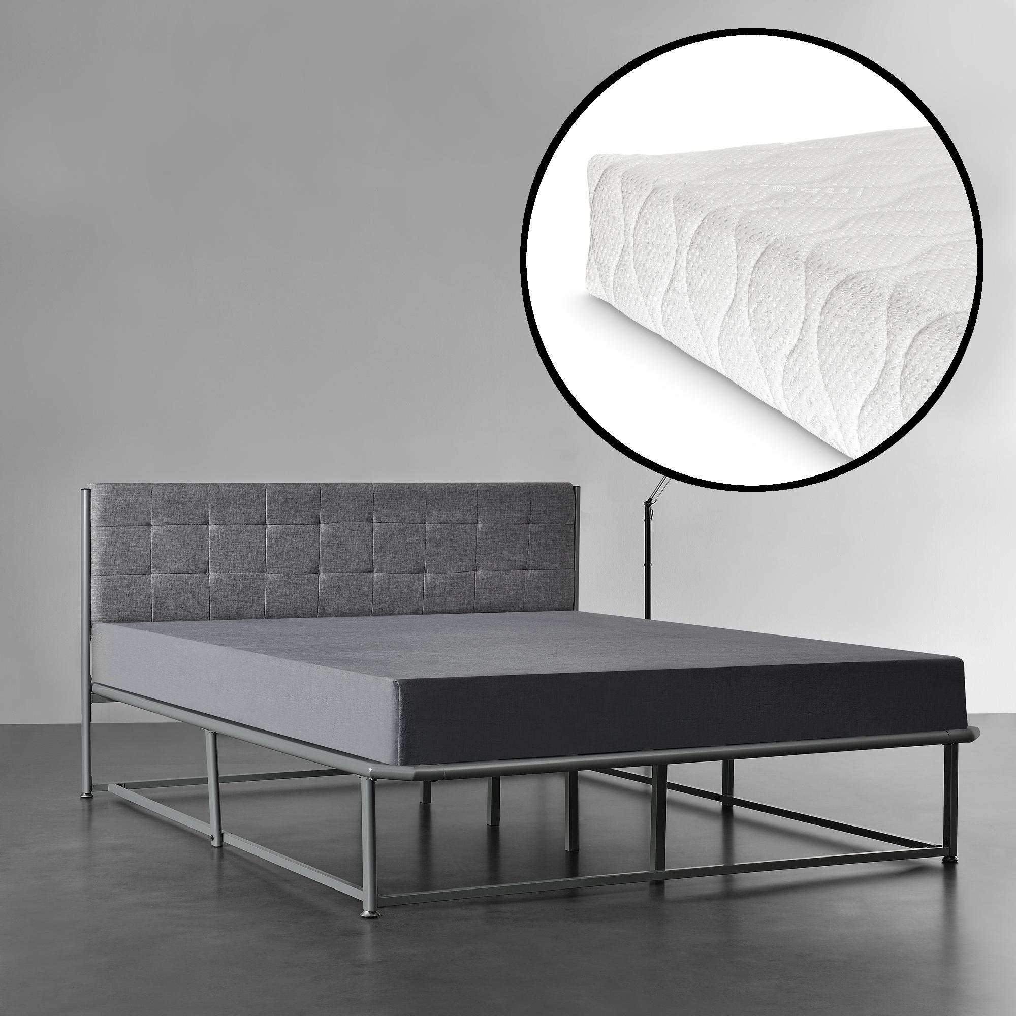 lit double et avec matela 140 x 200 cm gris avec cadre gris fonc ebay. Black Bedroom Furniture Sets. Home Design Ideas