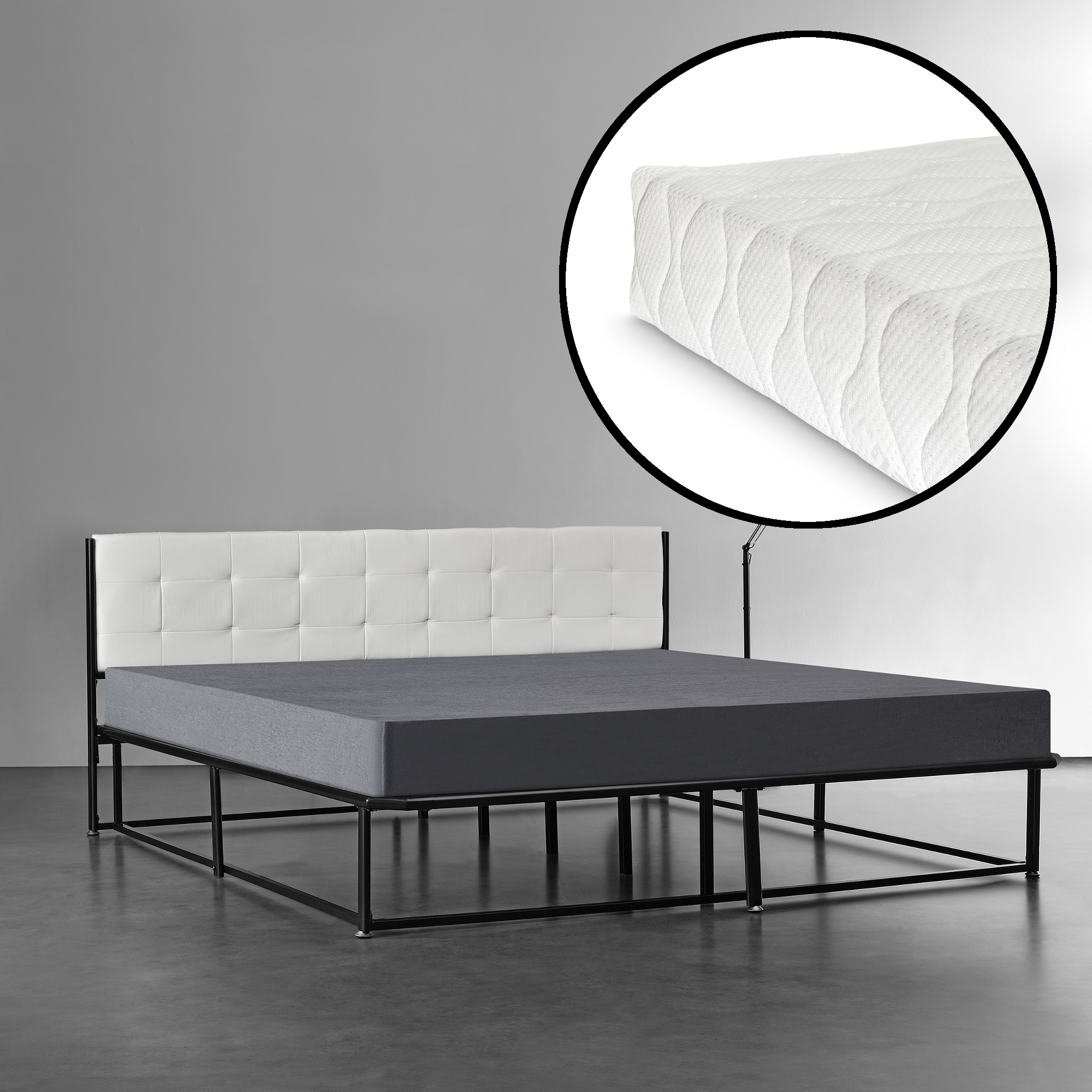 metallbett 180x200 schwarz mit matratze bett polsterbett kunstleder ebay. Black Bedroom Furniture Sets. Home Design Ideas