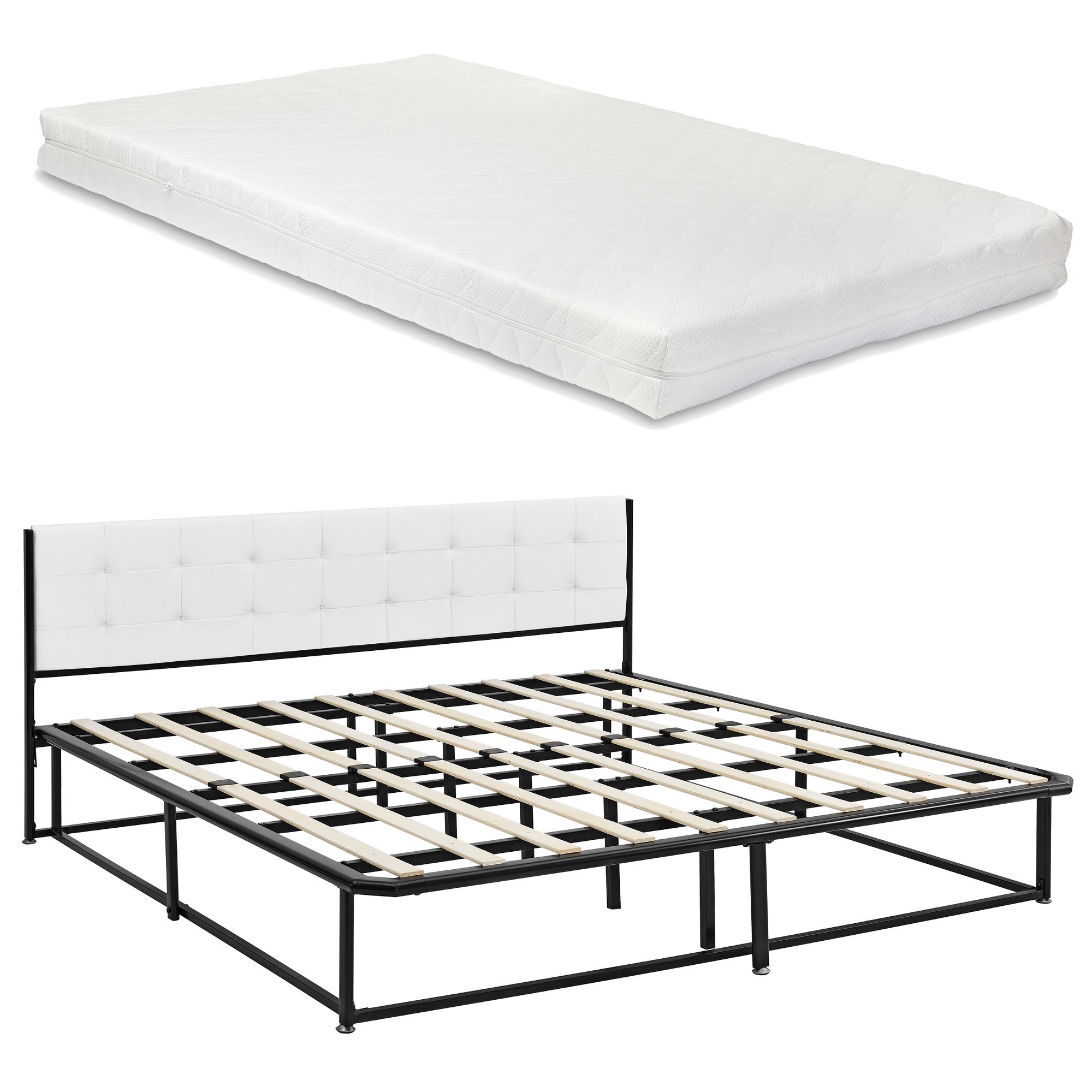 metallbett 180x200 schwarz mit matratze bett polsterbett kunstleder ebay. Black Bedroom Furniture Sets. Home Design Ideas