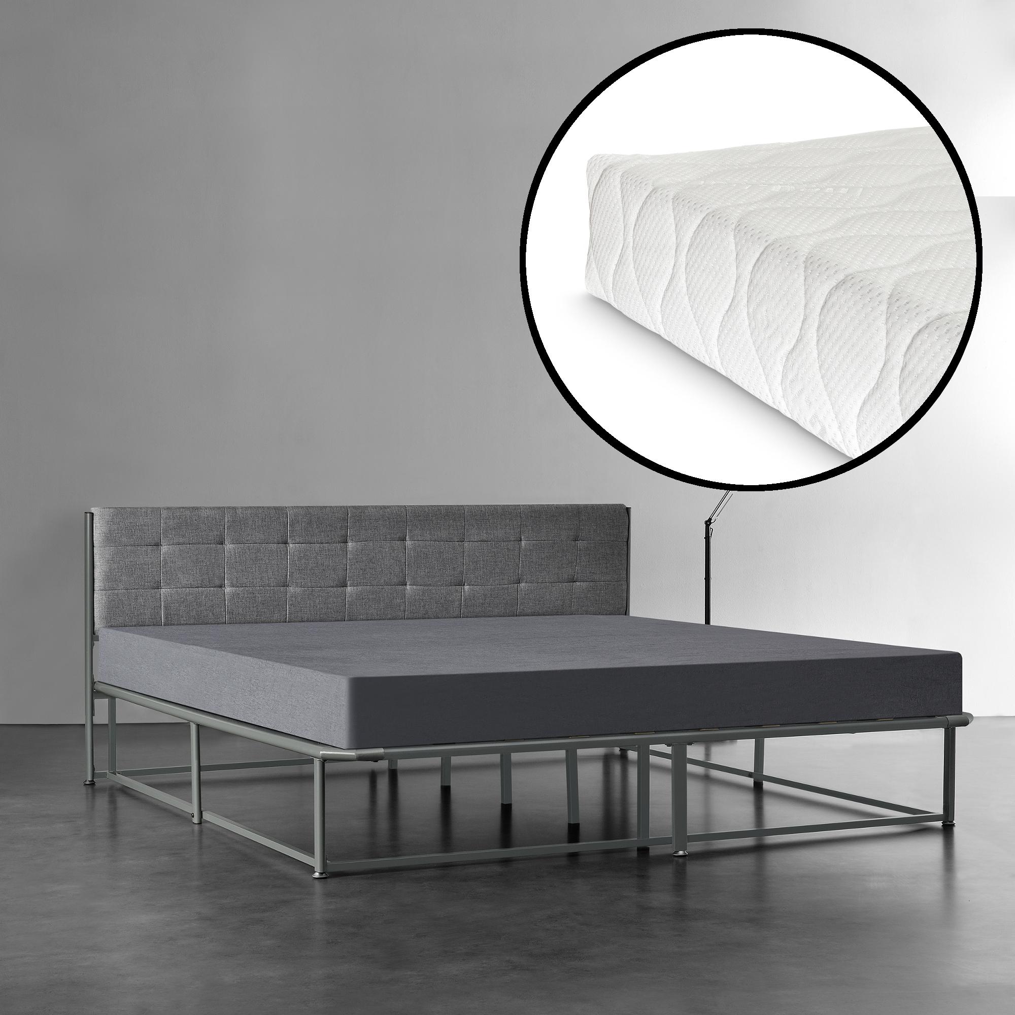 [en.casa]® Kovová postel AANB-0704 + matrace HKSM 180 x 200 cm