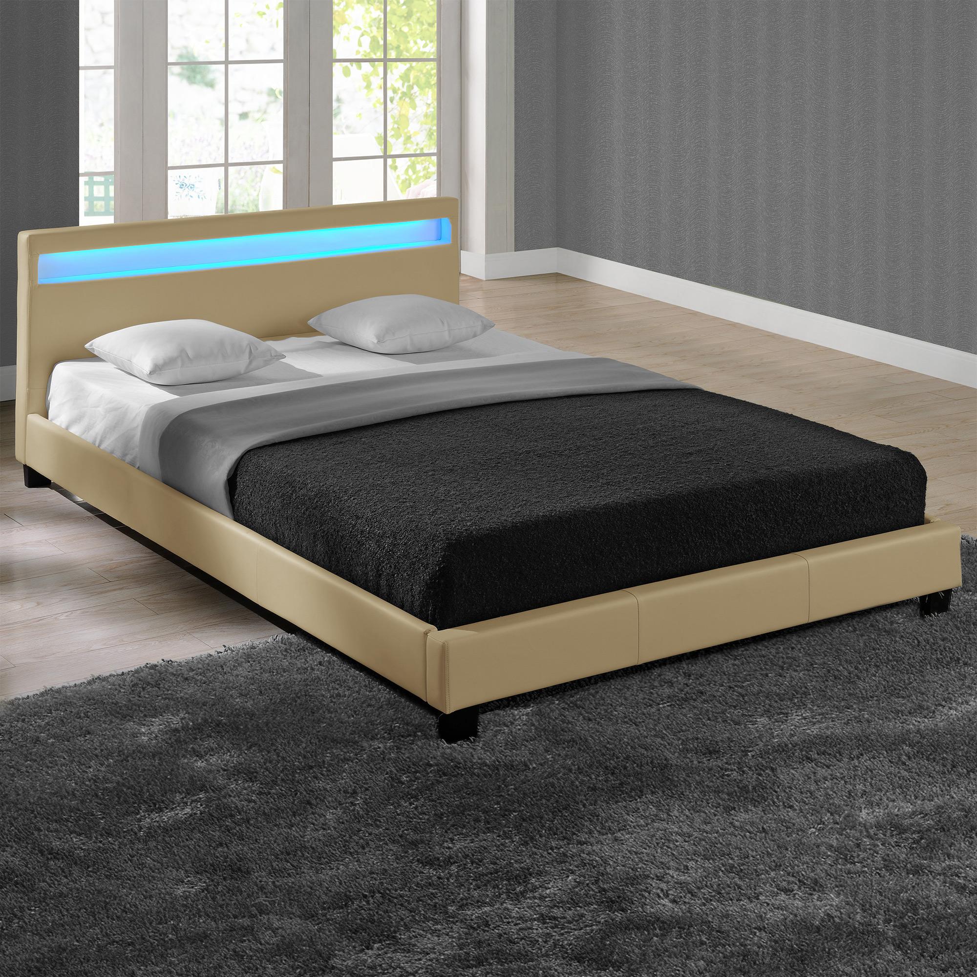 led polsterbett 140 160 180 200 x 200 cm doppelbett ehe bett gestell kunst leder ebay. Black Bedroom Furniture Sets. Home Design Ideas