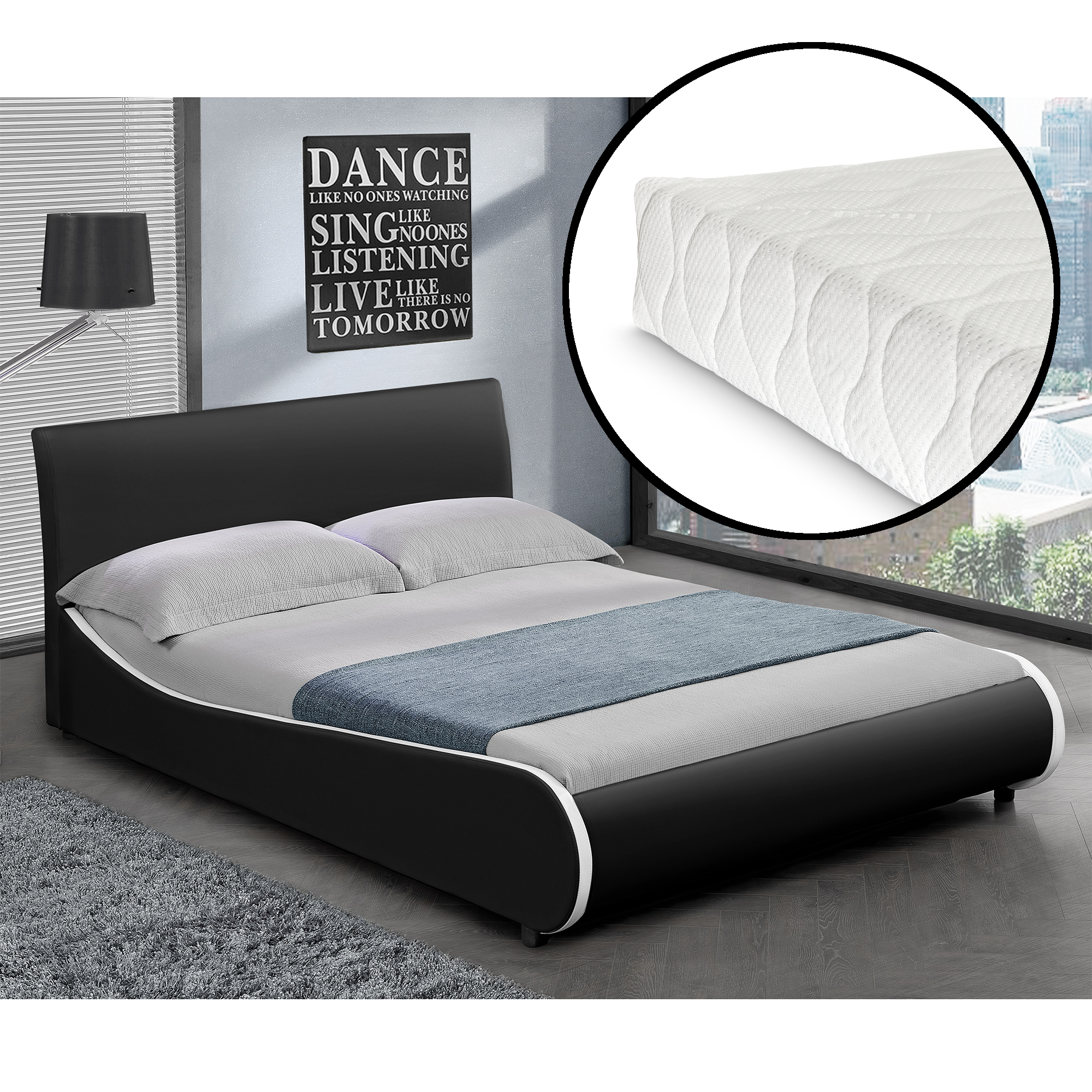 corium polsterbett matratze 140x200cm kunst leder. Black Bedroom Furniture Sets. Home Design Ideas